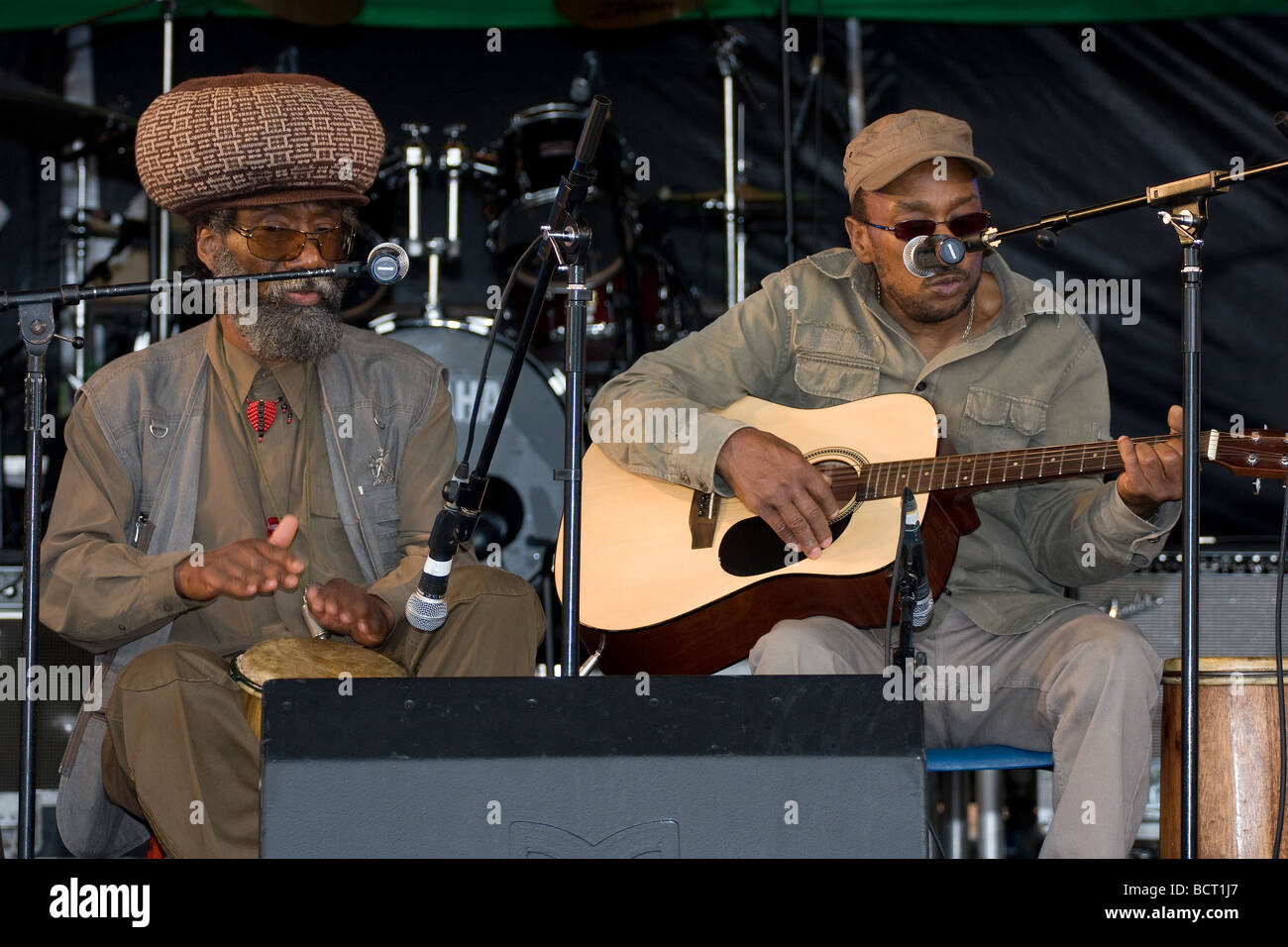 guitarist black ethnic lead singer reggae band  Lambeth Country Show, Brockwell Park, Tulse Hill, London, England, - Stock Image