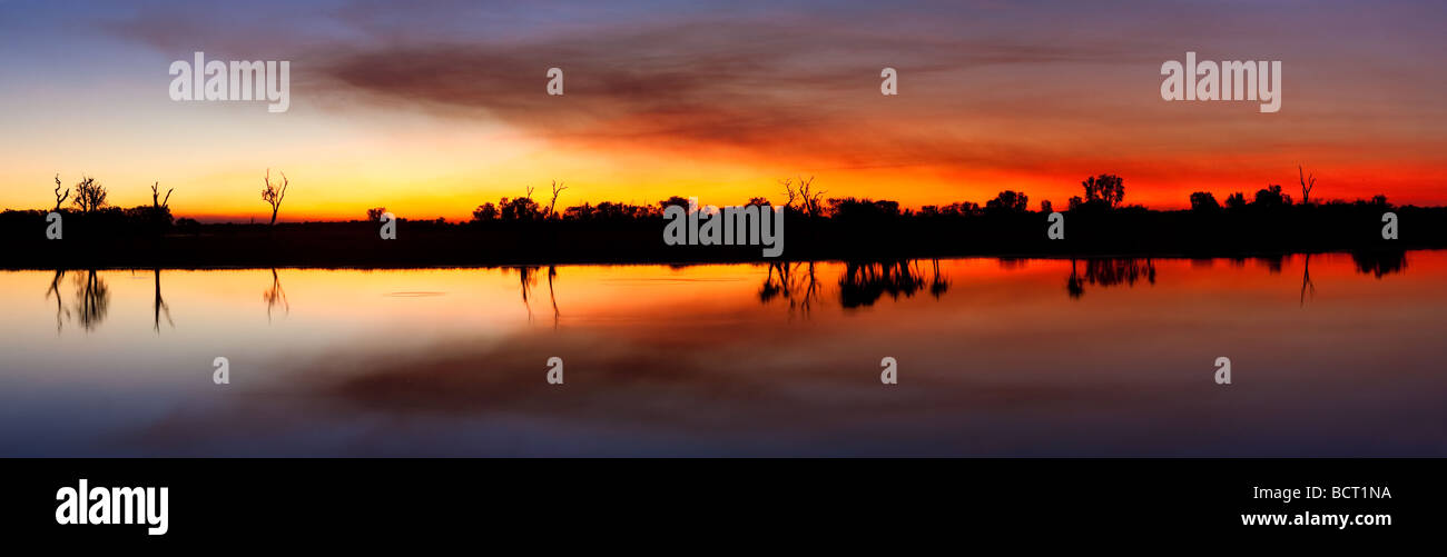 Yellow Water billabong at sunset. Kakadu National Park,UNESCO World Heritage Site, Northern Territory, Australia - Stock Image