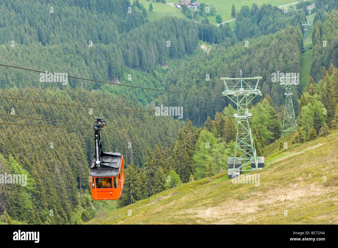 Schmittenhohe cable car taking passengers from Schmitten to Schmittenhohe ski resort in Austria Stock Photo