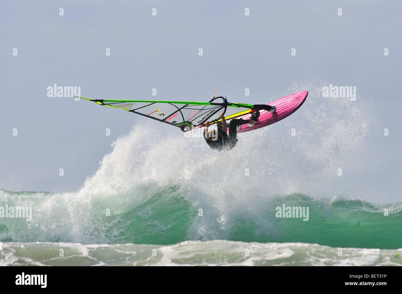 Session windsurf Bretagne - Stock Image