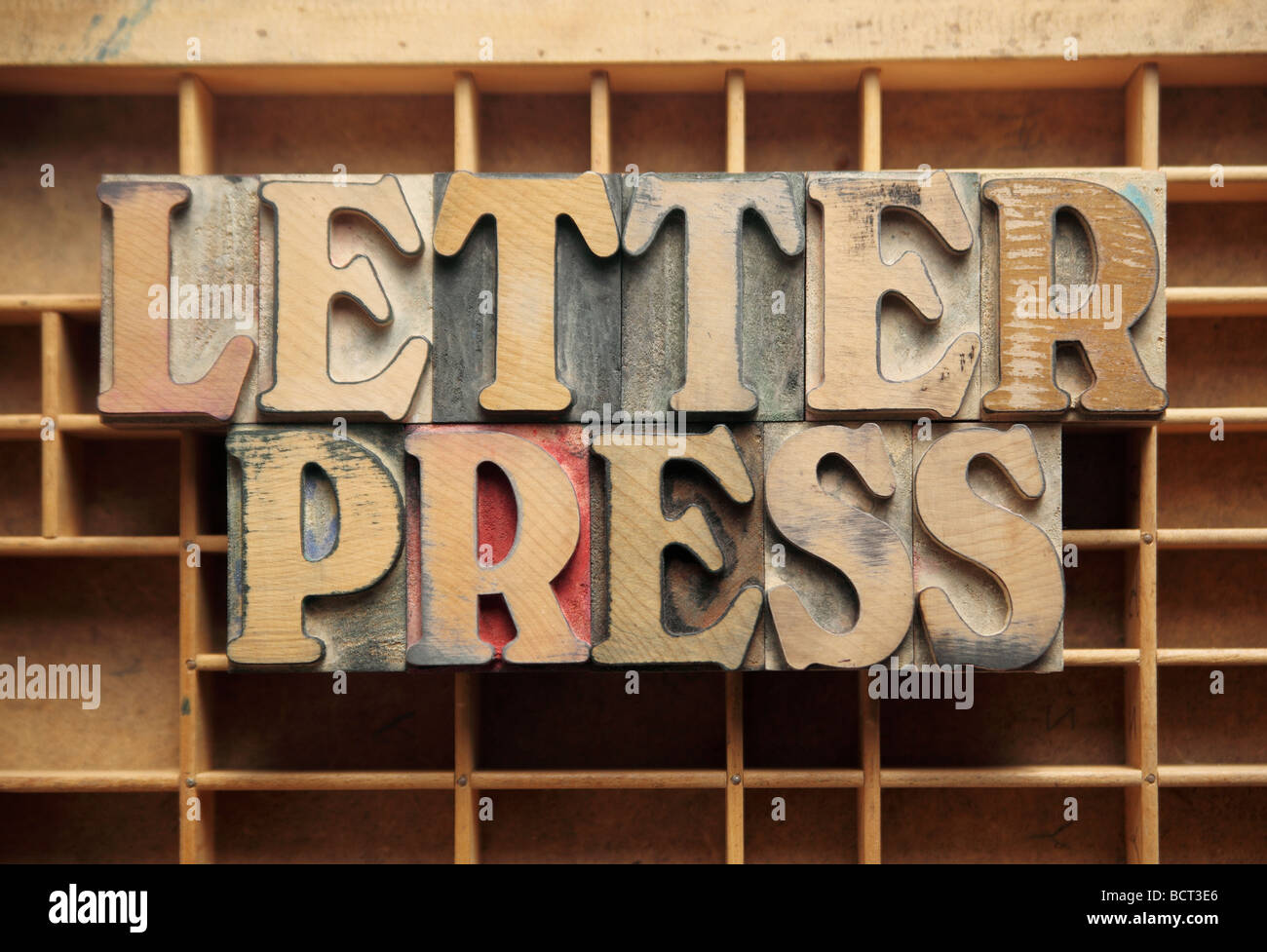 the word 'letterpress' on a type case - Stock Image