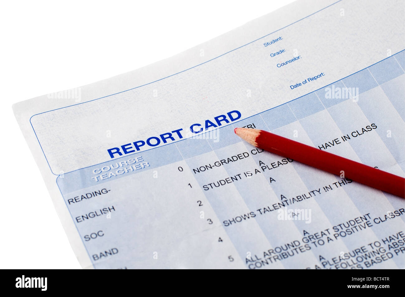 Closeup of a report card and red pencil - Stock Image
