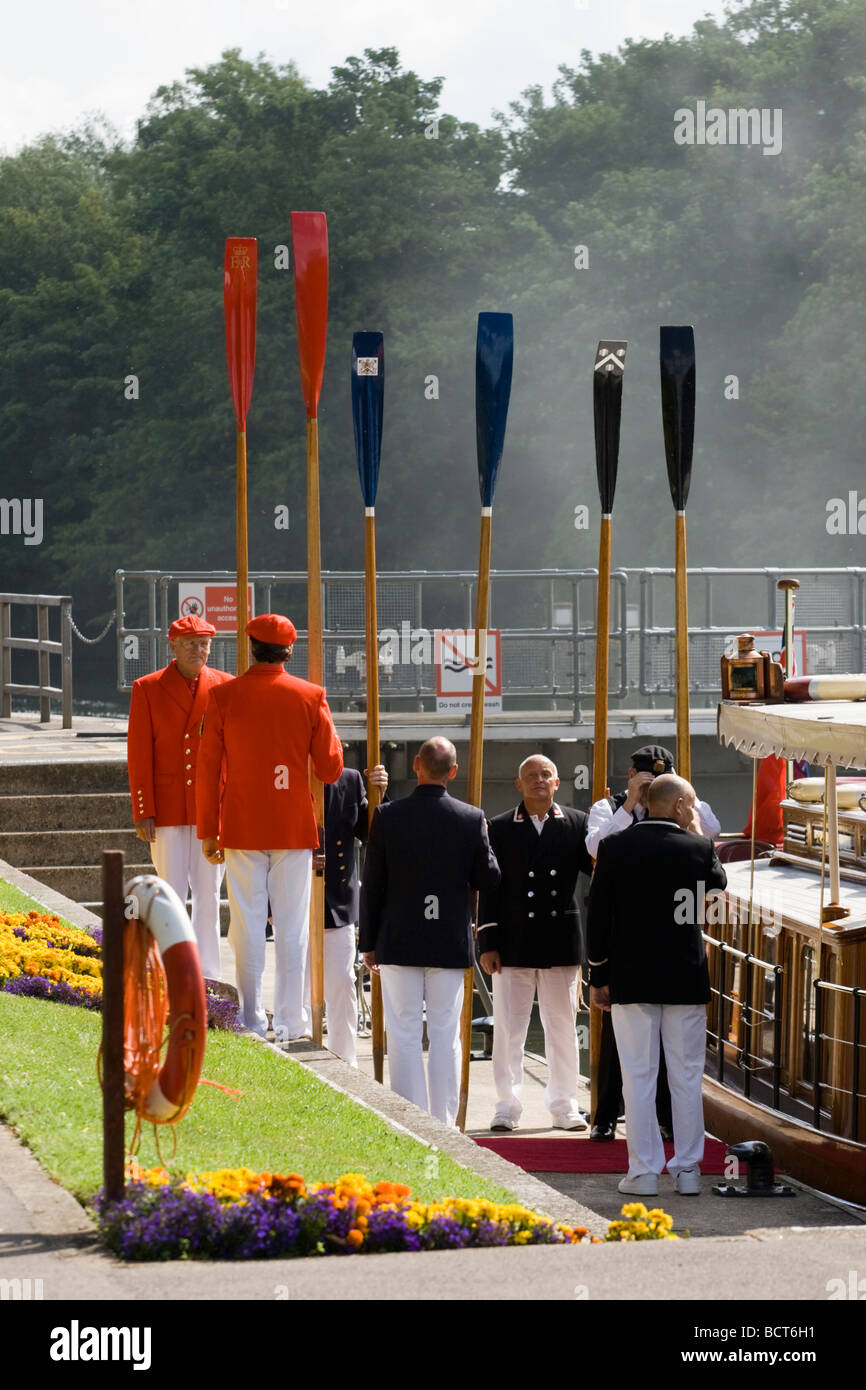 The annual Swan Upping Ceremony which HRH Queen Elizabeth II attended Windor England 20th July 2009 - Stock Image
