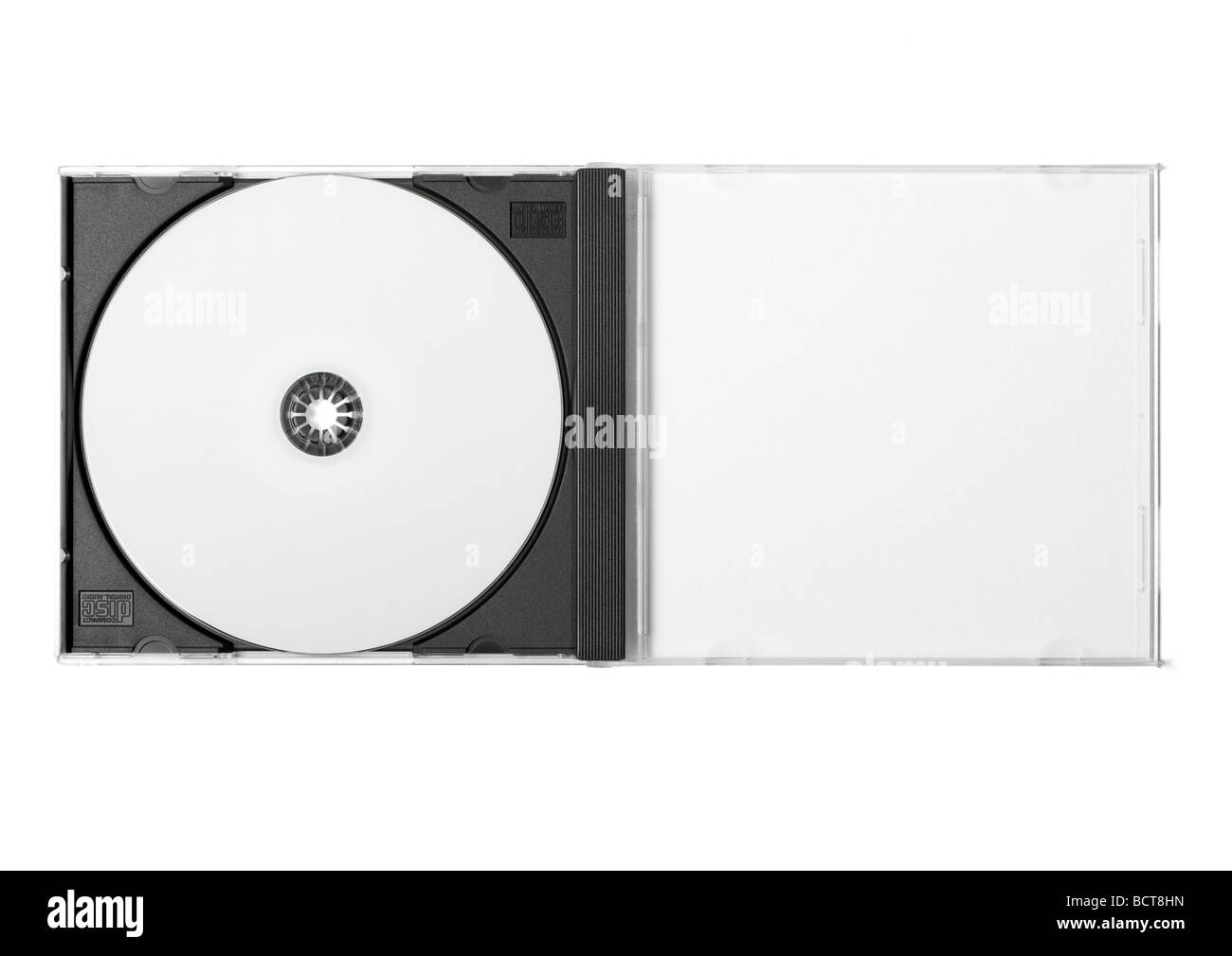 CDR and jewel case on white background - Stock Image