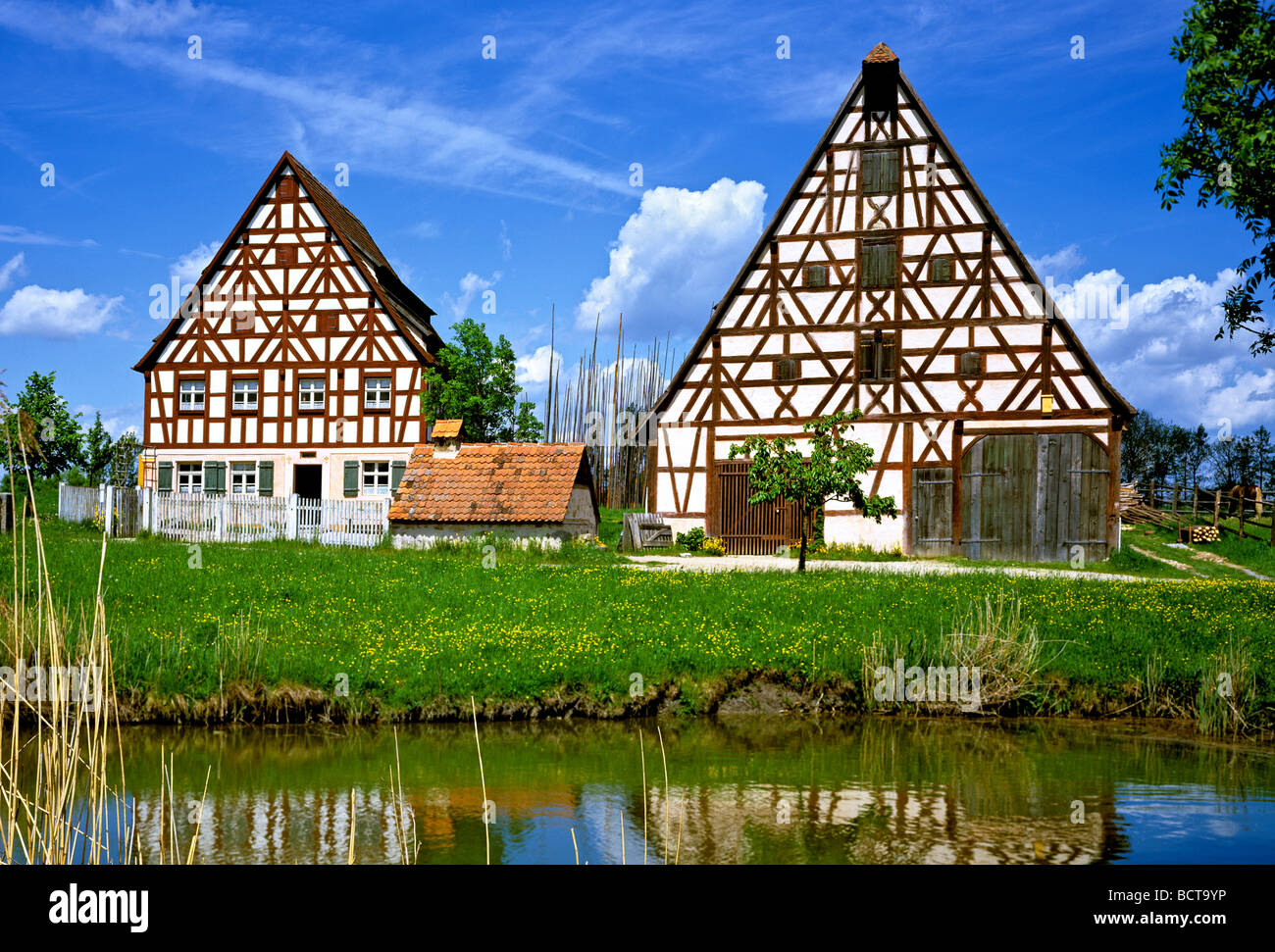 Fraenkisches Freilandmuseum outdoor museum Bad Windheim, old Franconian farm, Middle Franconia, Bavaria, Germany, - Stock Image