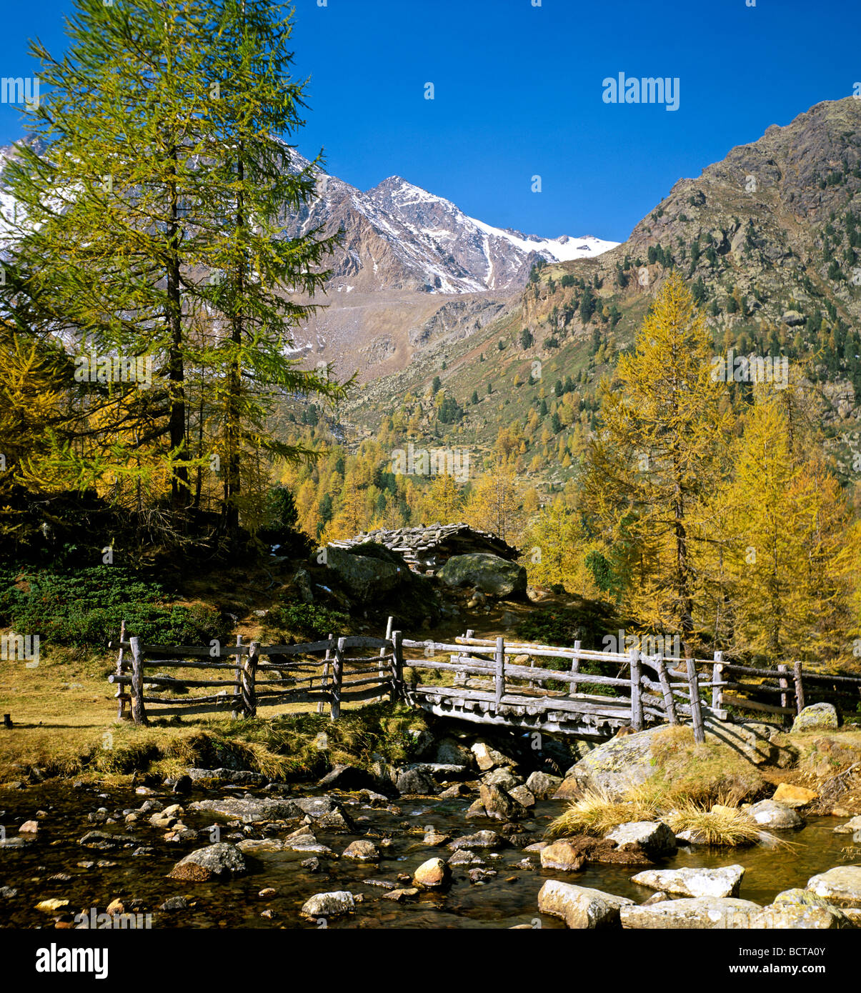 Hiking trail, Weissbrunnalm, Oberes Ultental vally, Ortler Group mountains, South Tyrol, Italy, Europe - Stock Image