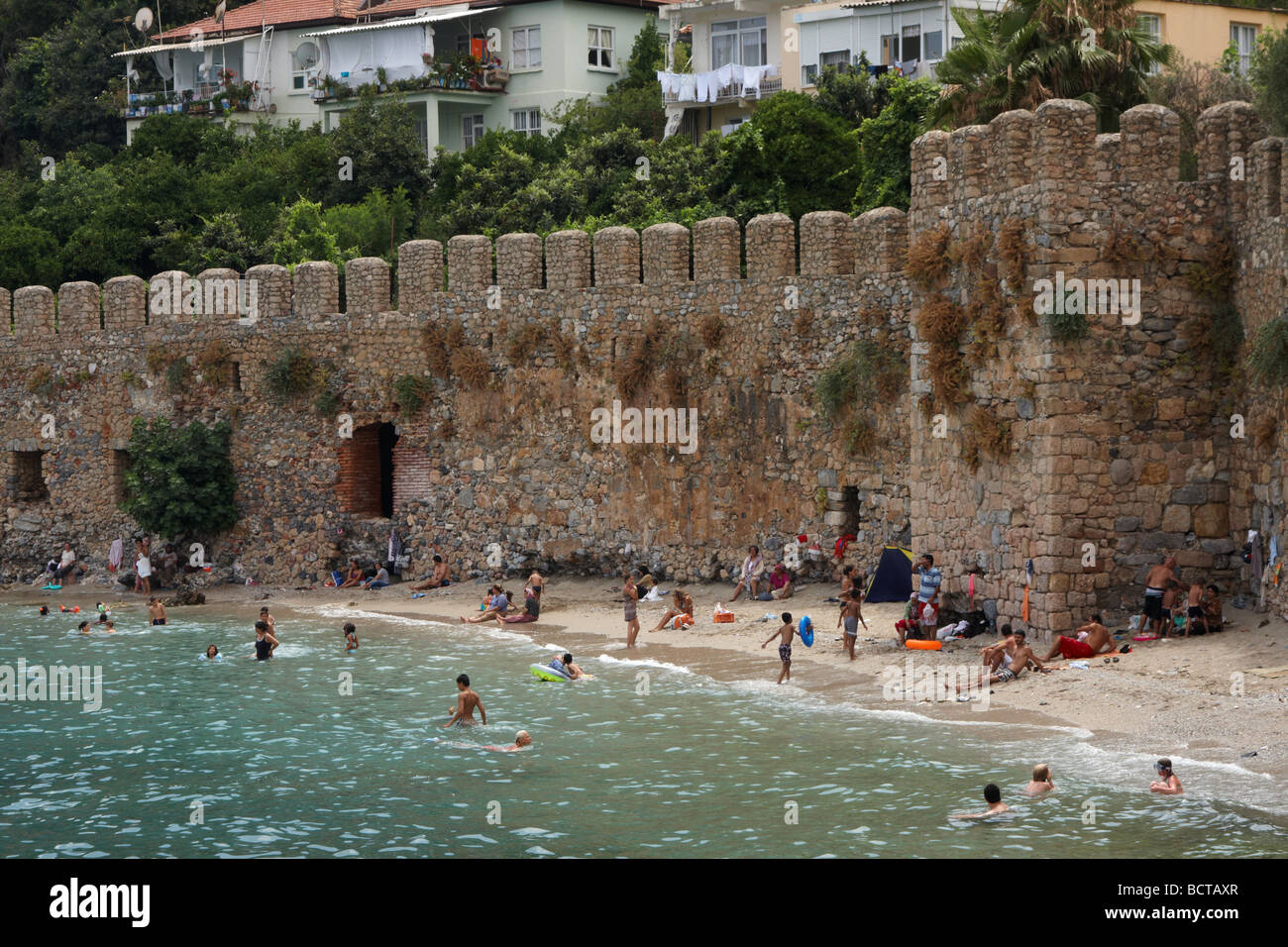 Harbour and Old Castle Alanya Turkey - Stock Image
