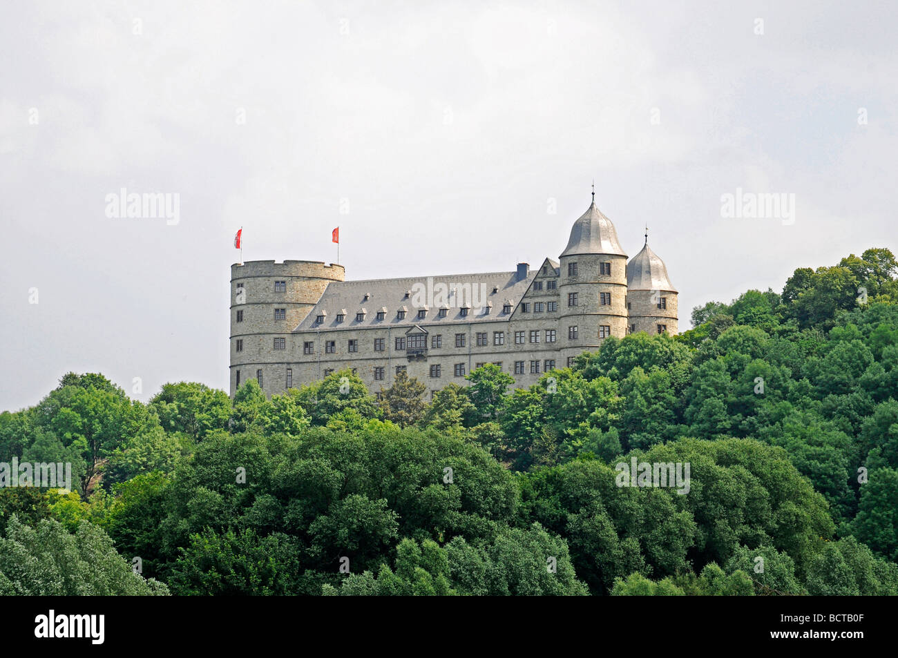 Overview, landscape, Wewelsburg, triangular castle, former Nazi cult and terror center of the SS, today historical - Stock Image