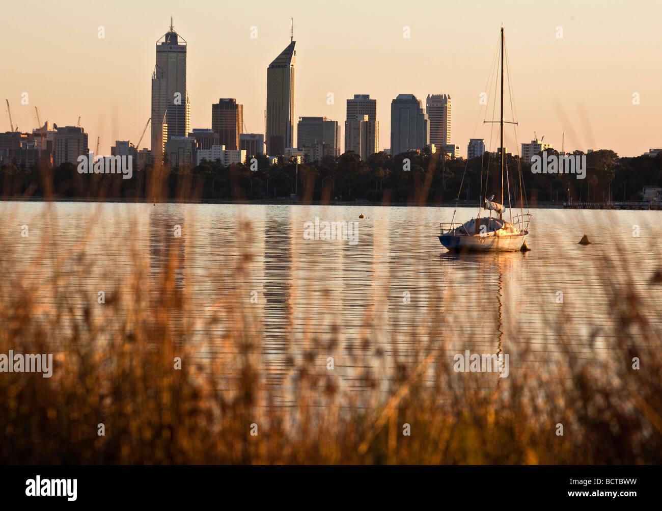 Skyline of Perth with the Swan River, Western Australia, Australia - Stock Image