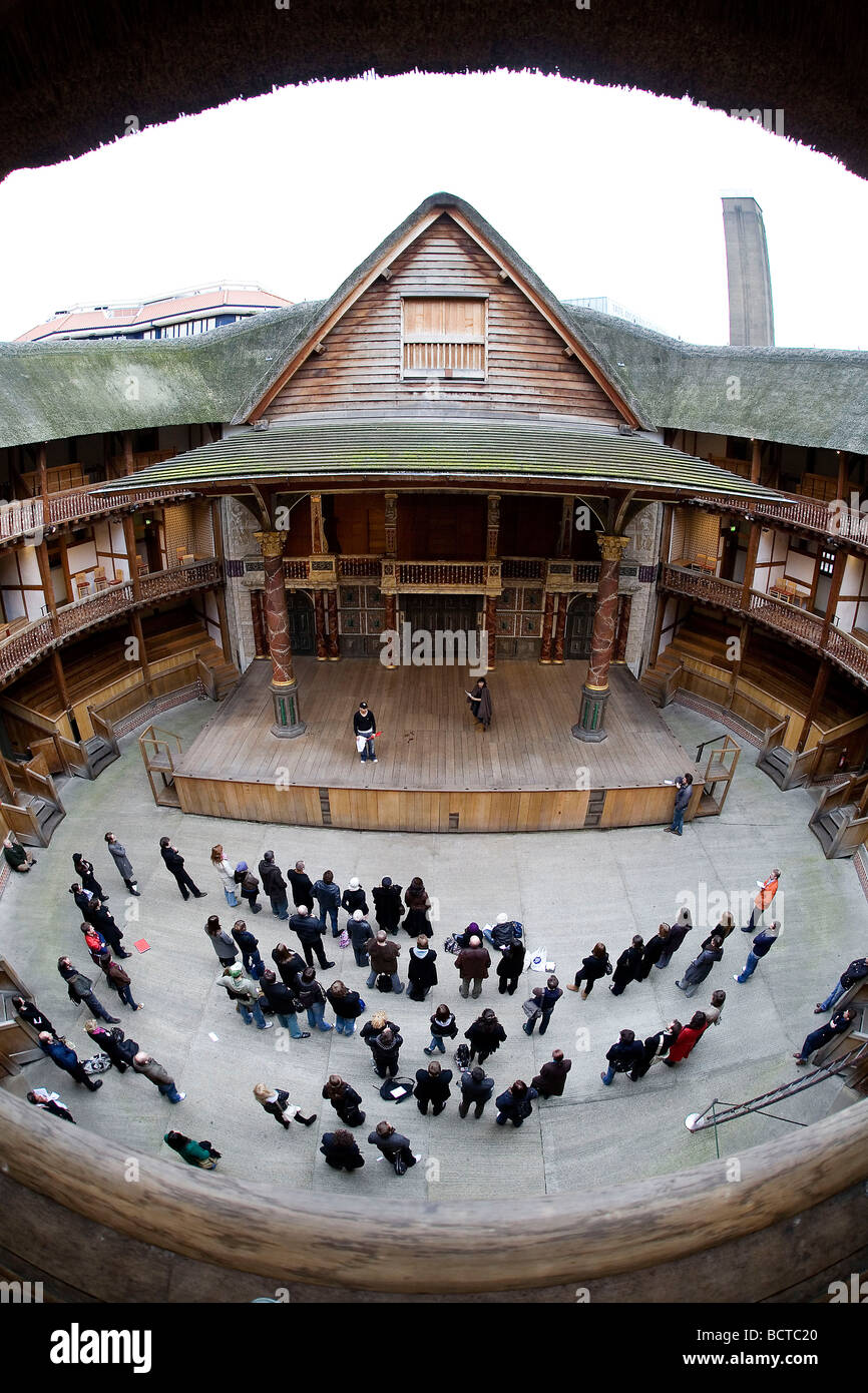 General View of Shakespeare's Globe Theatre, on the South Bank in central London. - Stock Image