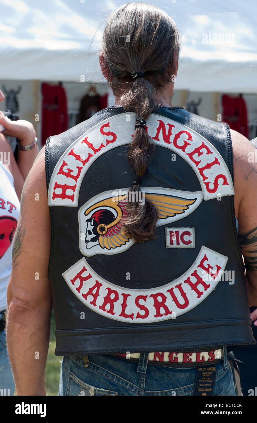 A member of the Hells Angels motorcycle club - Stock Image