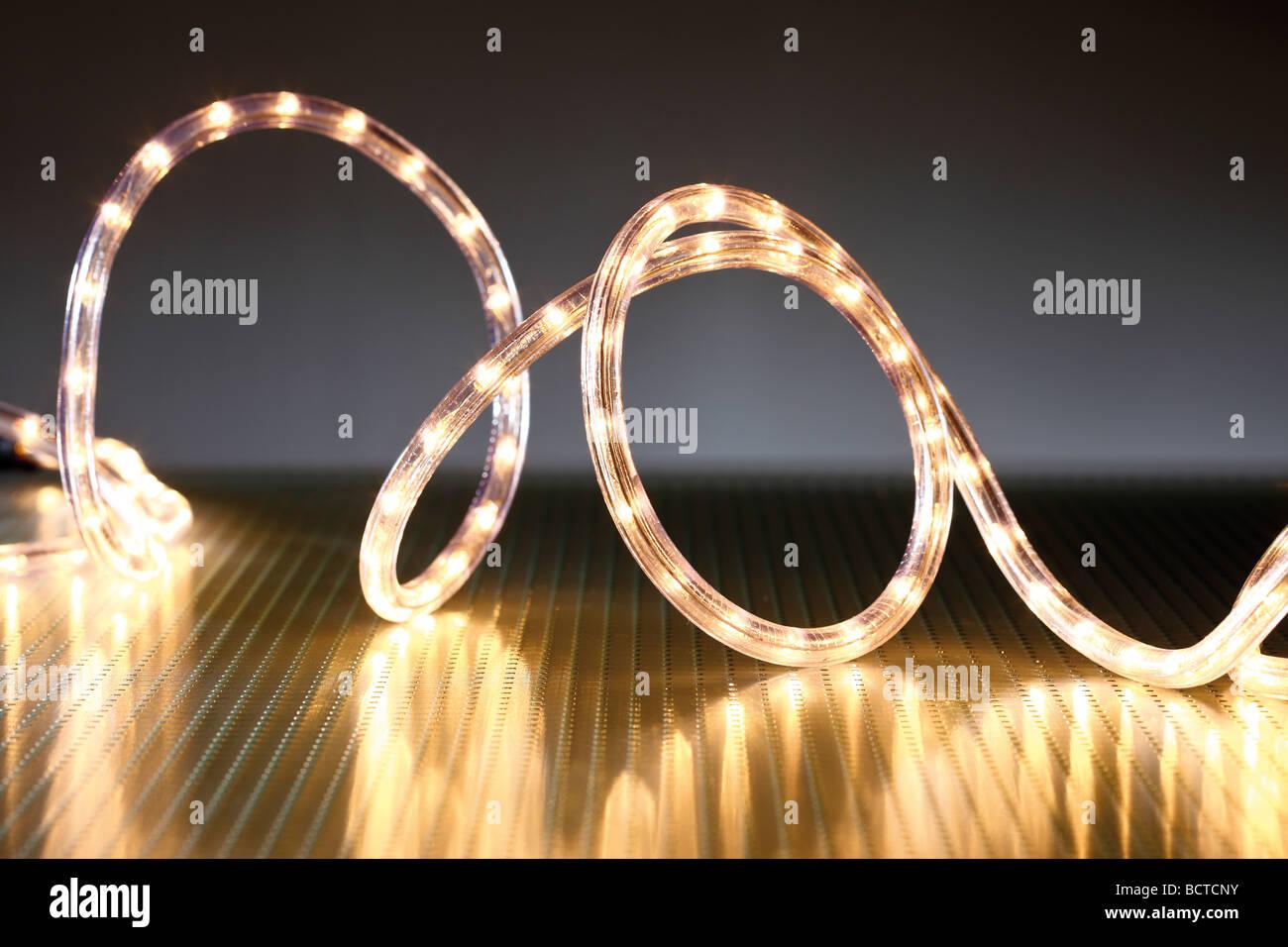 LED light tube, chain of lights, Christmas illumination Stock Photo