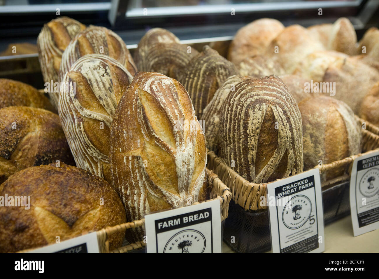 Fresh baked artisan breads at West Side Market in Cleveland Ohio - Stock Image
