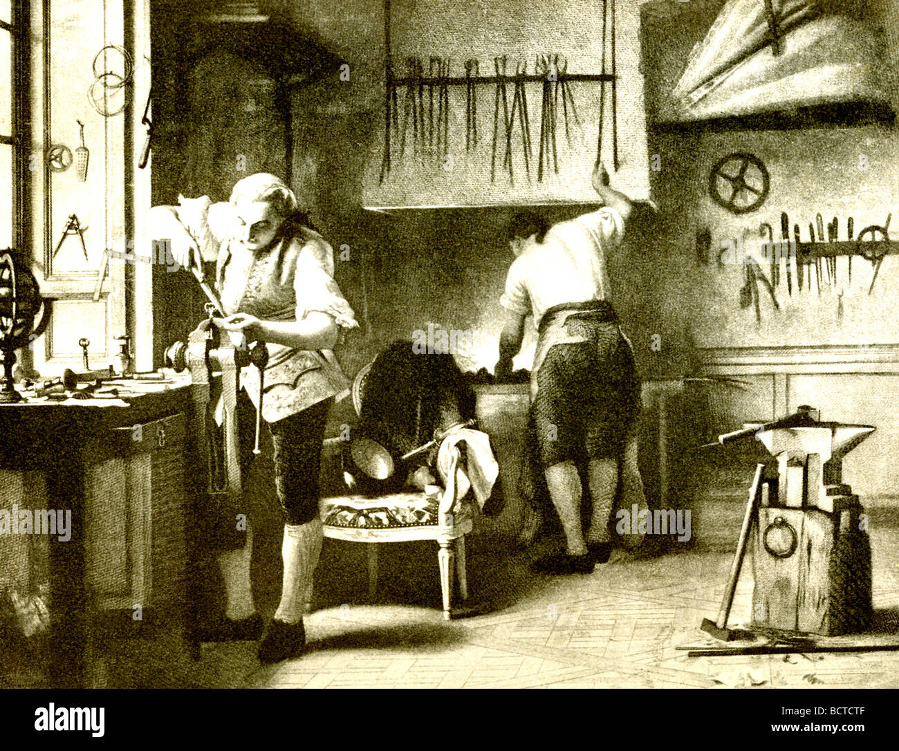 Louis XVI (1754-1793) preferred hunting and his locksmith workshop to governing France. - Stock Image