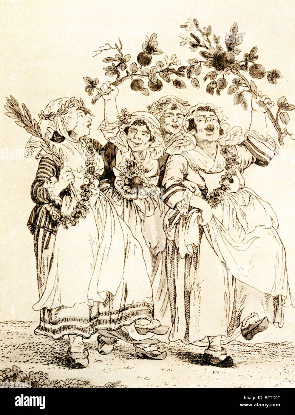 Many political cartoons were published in France during the French Revolution. This one had title 'Vive Le Roi, - Stock Image