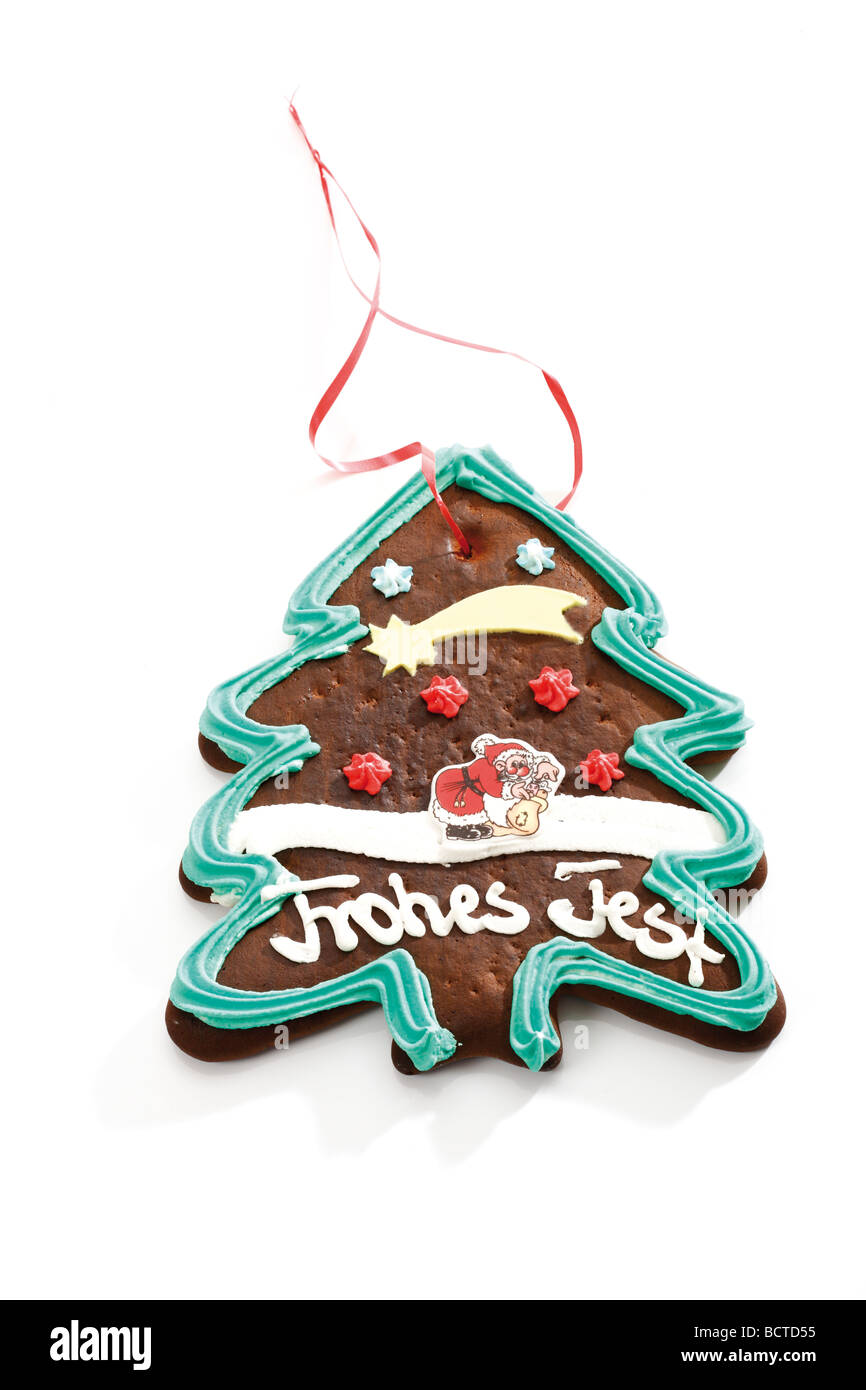 Gingerbread Christmas tree, Christmas motif, 'Frohes Fest', Merry Christmas - Stock Image