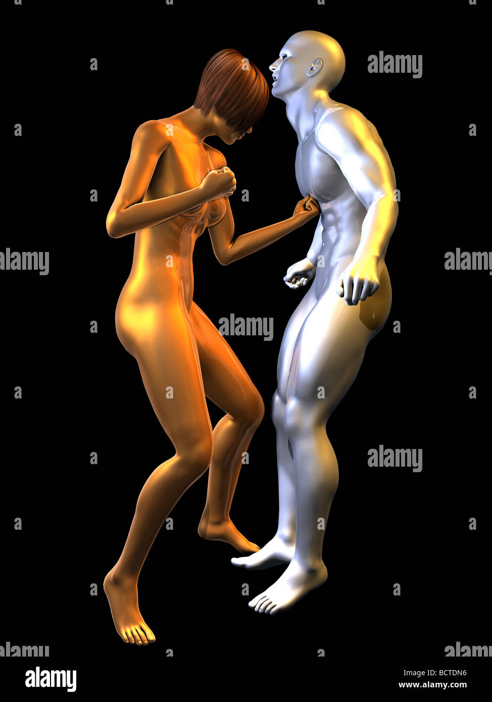The battle between man and woman takes on a physical form in this action scene between 2 metallic figures. She lands - Stock Image