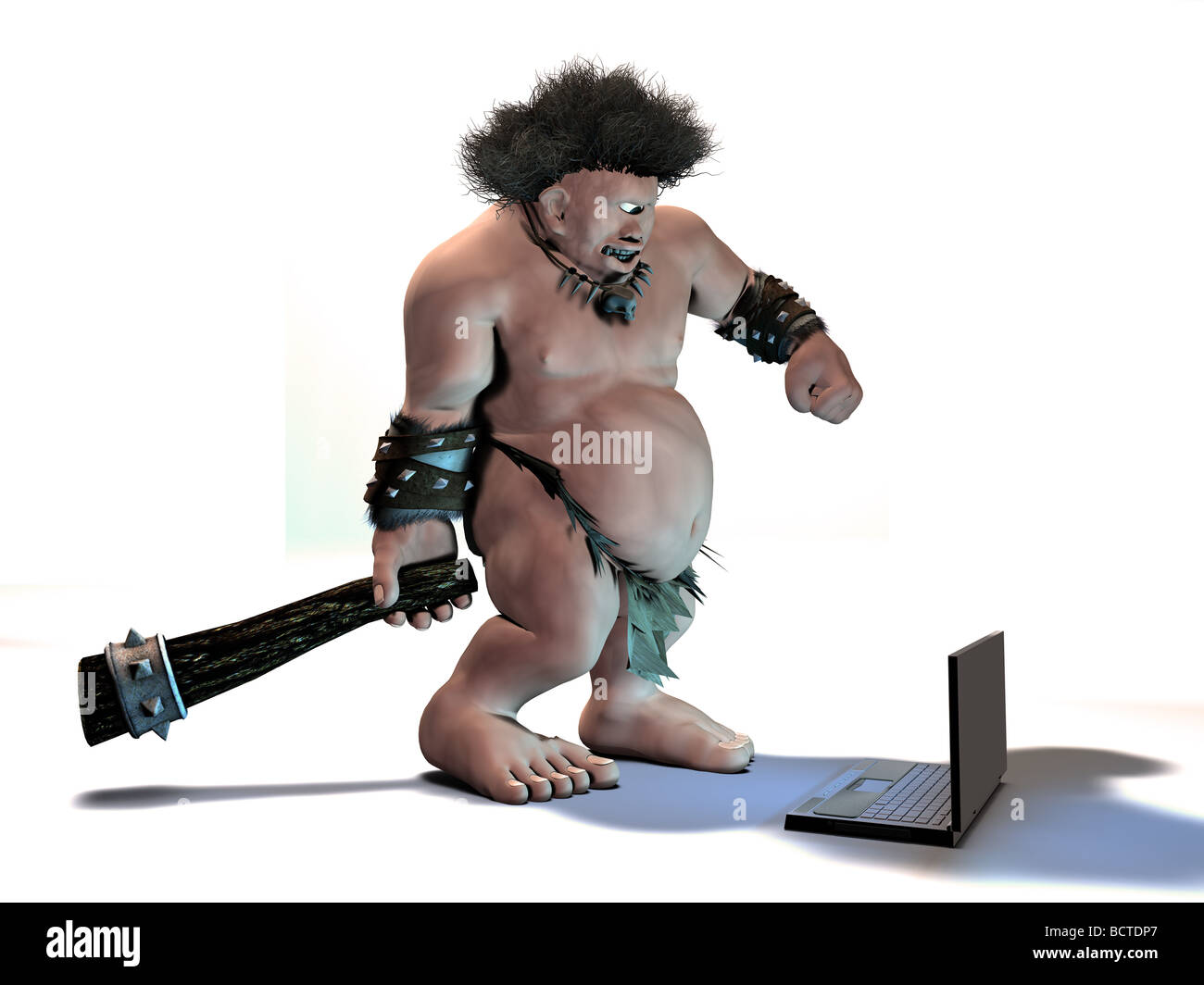 A one-eyed caveman gets frustrated with his new laptop computer and prepares to 'fix' it. - Stock Image