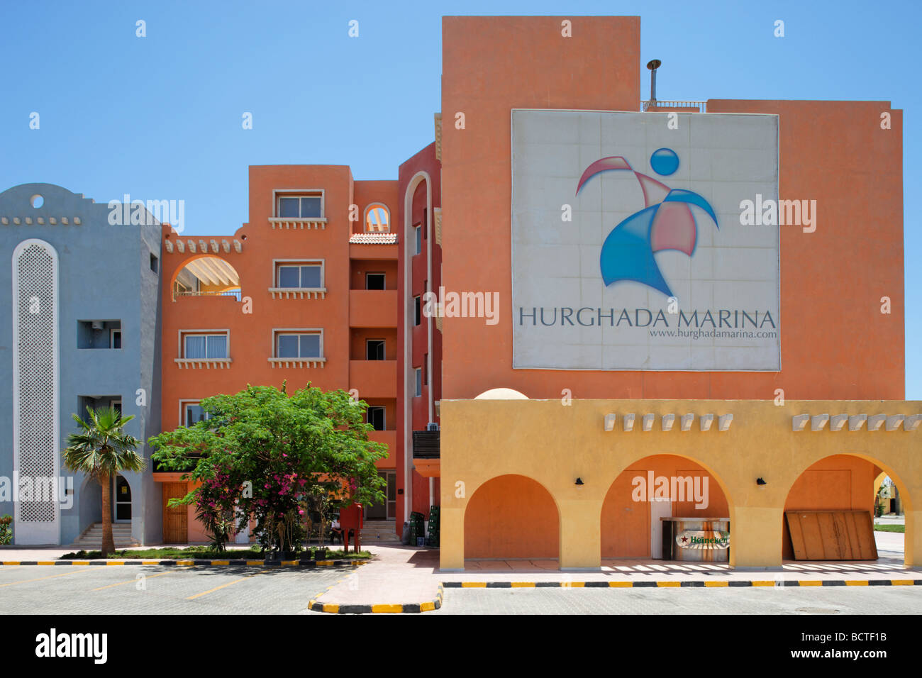 Houses with logo of the marina, Hurghada, Egypt, Red Sea, Africa Stock Photo