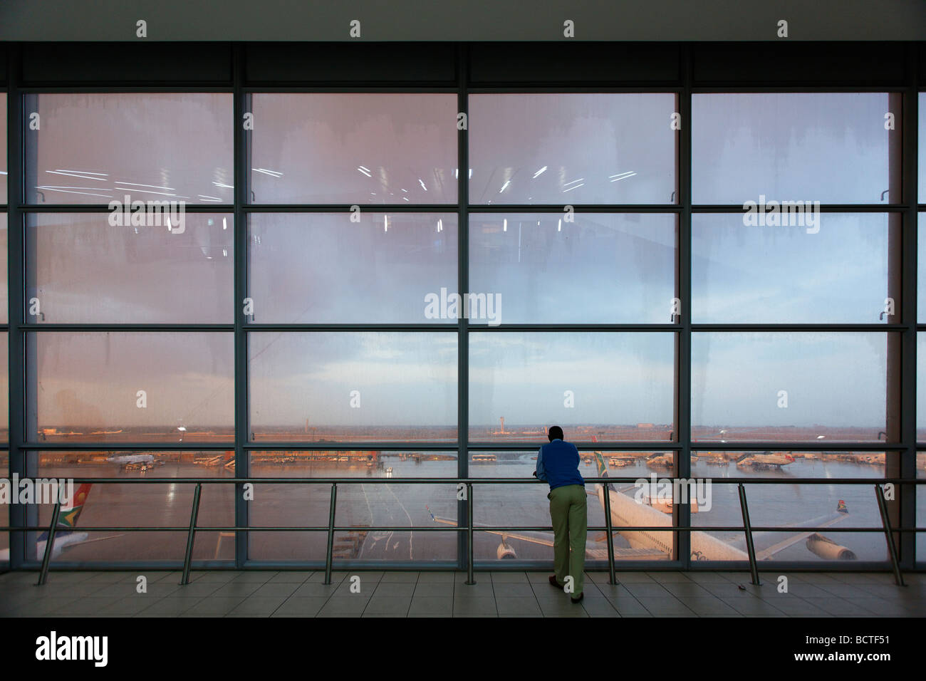 Observation deck, airfield, aeroplane, O R Tambo International Airport, Johannesburg, South Africa, Africa - Stock Image