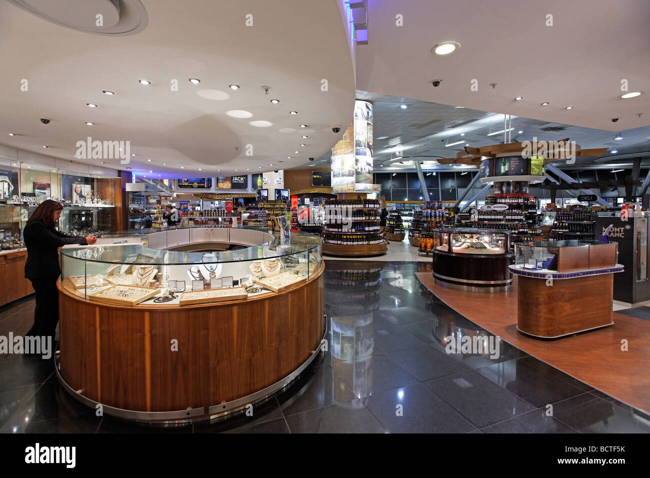 Duty free shop with jewellery, spirits, tobacco products and cosmetics, O R Tambo International Airport, Johannesburg, - Stock Image