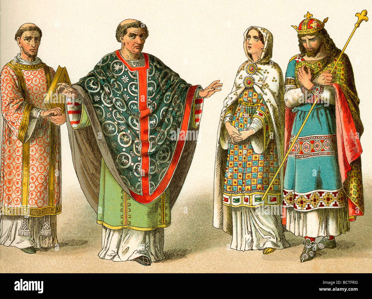 The costumes depicted here represent the garb worn around A.D. 900 by upper classes in France. - Stock Image