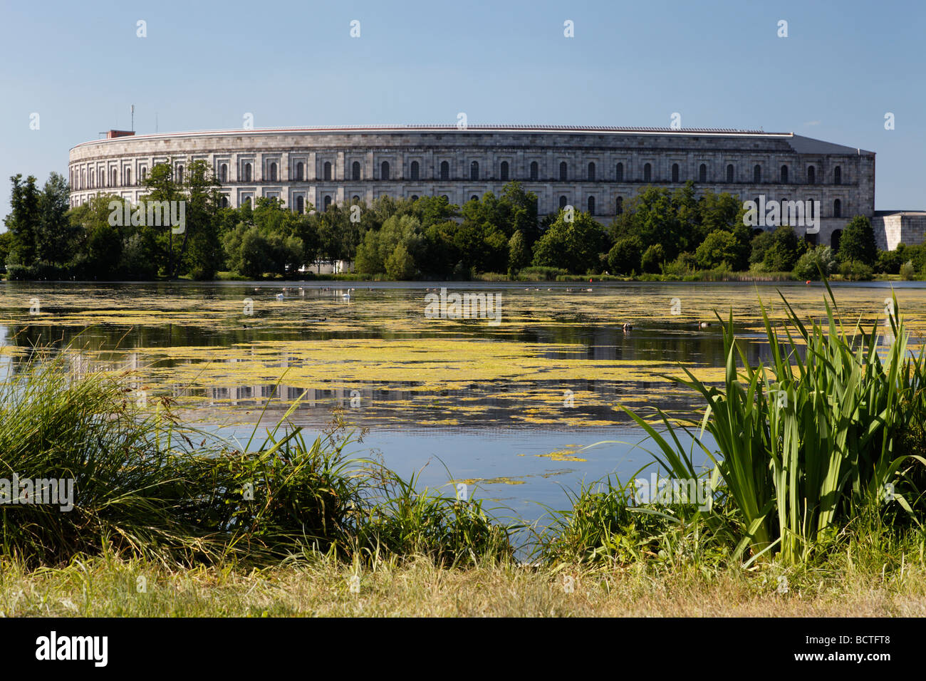 Kongresshalle congress hall, unfinished, monumental building, Grosser Dutzendteich pond, Reichsparteitagsgelaende - Stock Image
