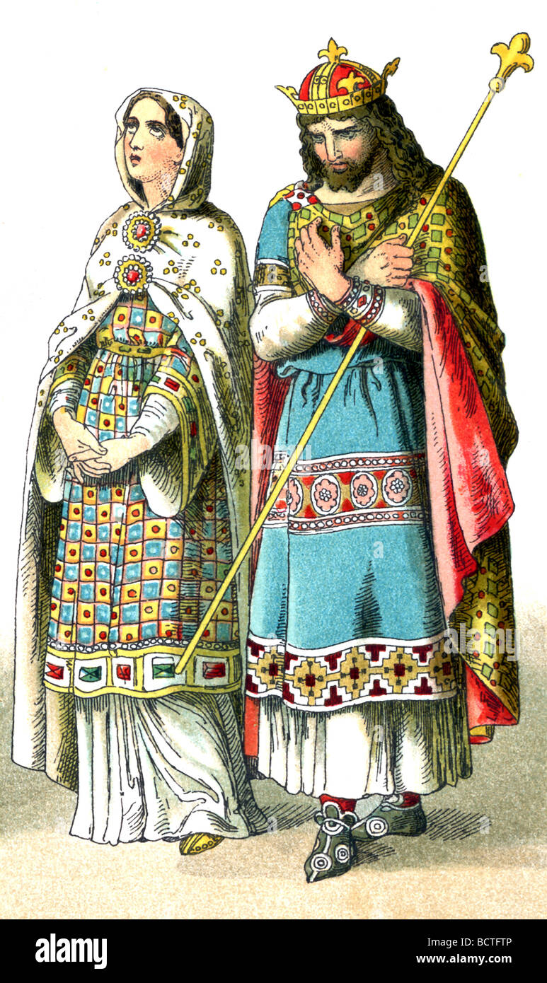 This 1882 illustration shows a French king and a high ranking French woman around A.D. 900. - Stock Image