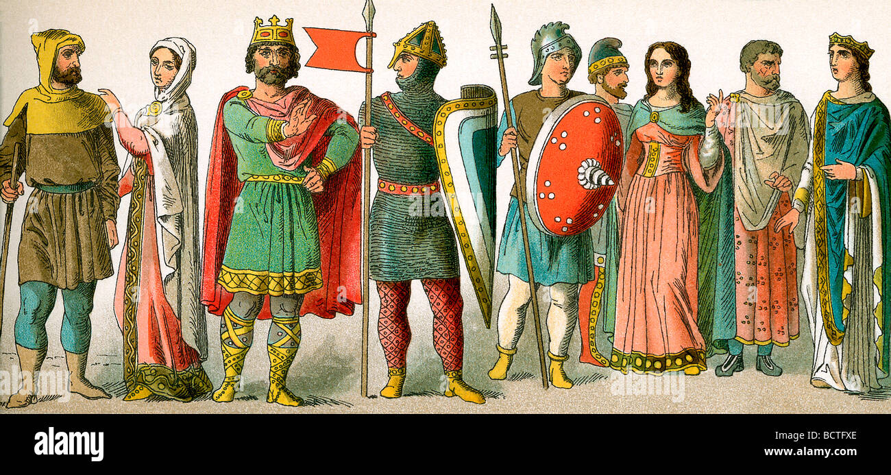 The French garb depicted in this illustration dates to around A.D. 900. - Stock Image