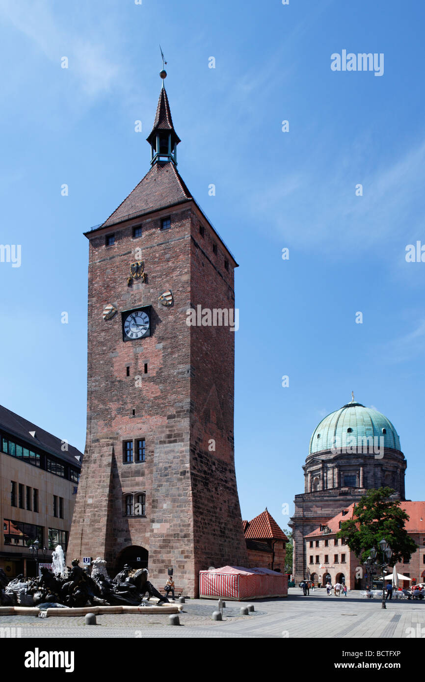 Weisser Turm tower, turret clock, 1250, Ehekarussell fountain, Ludwigsplatz square, St. Elisabeth church, dome, - Stock Image