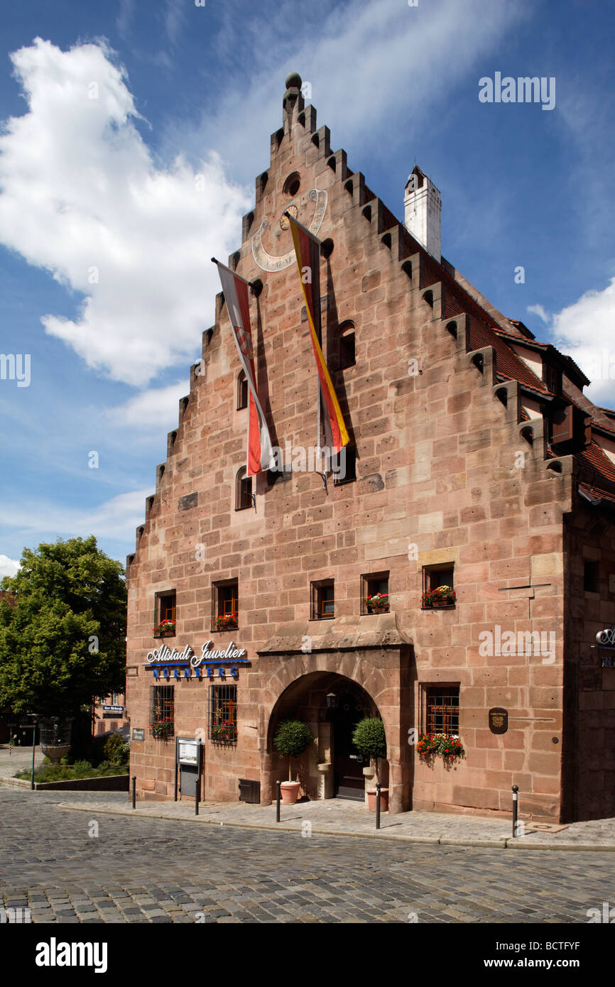 Gable side of the Unschlitthaus house, built in 1491, Unschlittplatz square, old town, Nuremberg, Middle Frankonia, - Stock Image