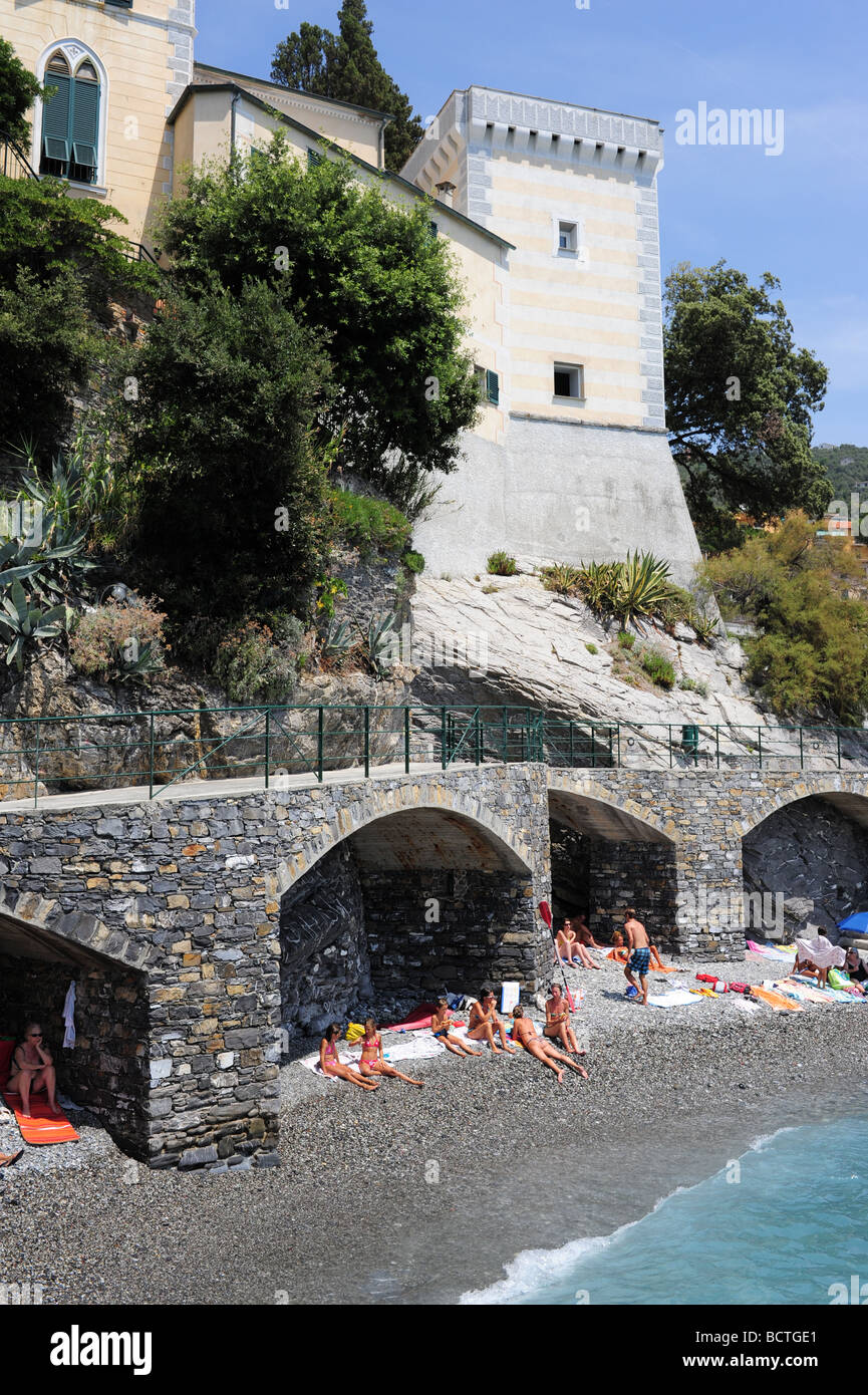 Europe Italy Zoagli mediterranean Liguria Region Summer swimmers enjoy the clear blue water Stock Photo