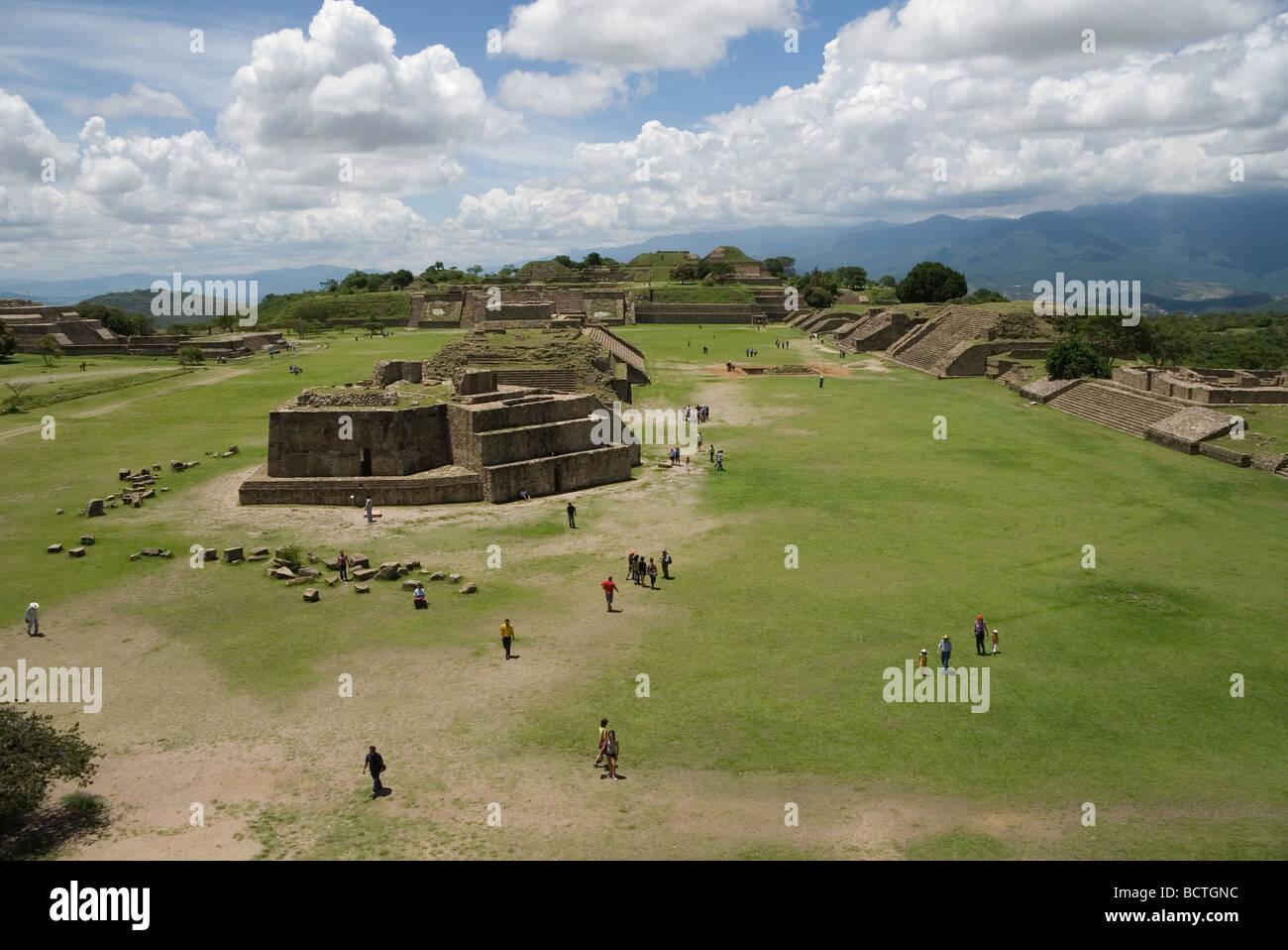 Monte Alban Ruin Site Oaxaca, Mexico, 500 BC-750 AD the oldest stone city in Mexico, Zapotec builders, stone pyramidal Stock Photo