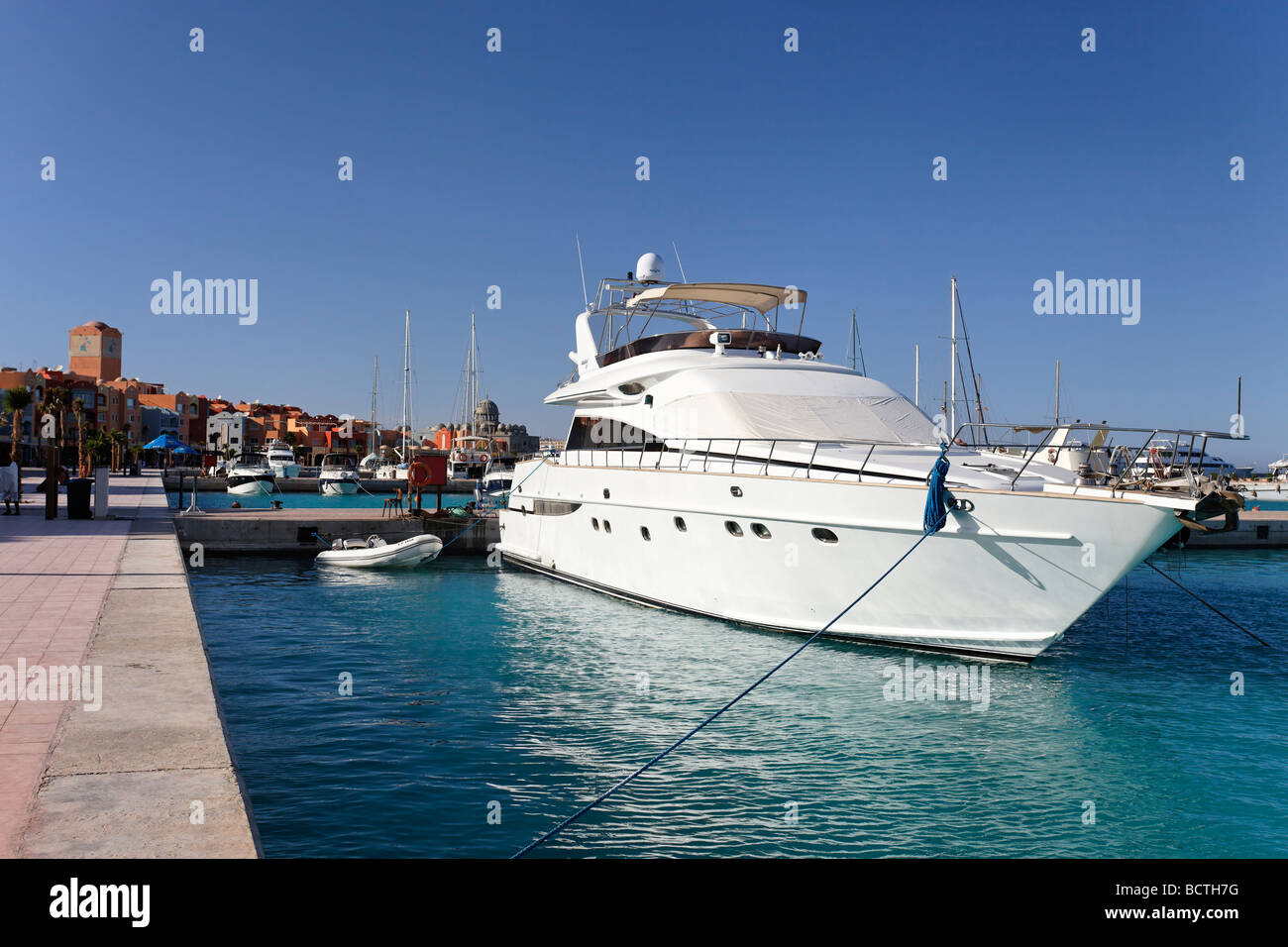 Private yachts in marina, Hurghada, Egypt, Red Sea, Africa - Stock Image