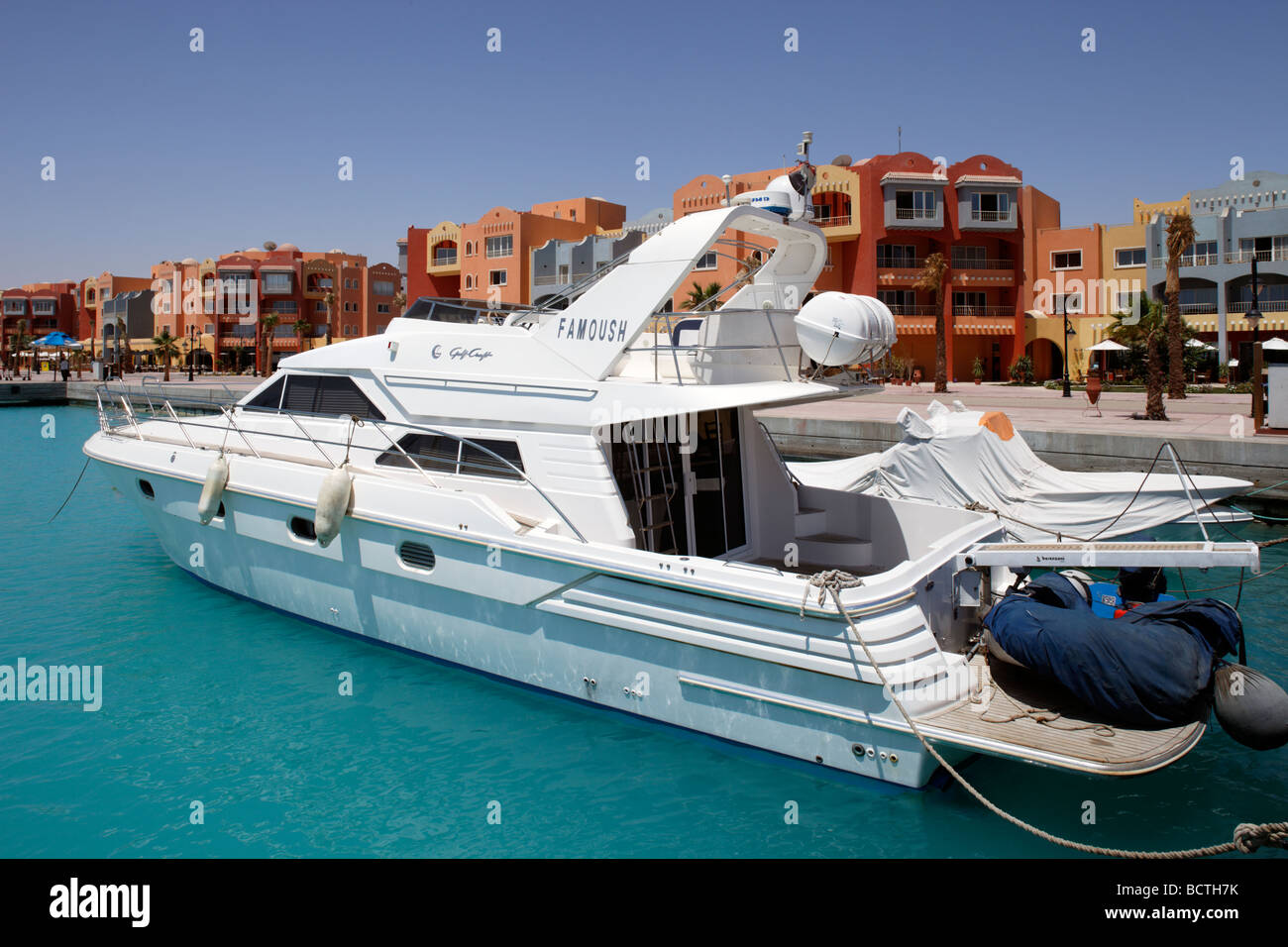 Private yacht in marina, Hurghada, Egypt, Red Sea, Africa - Stock Image