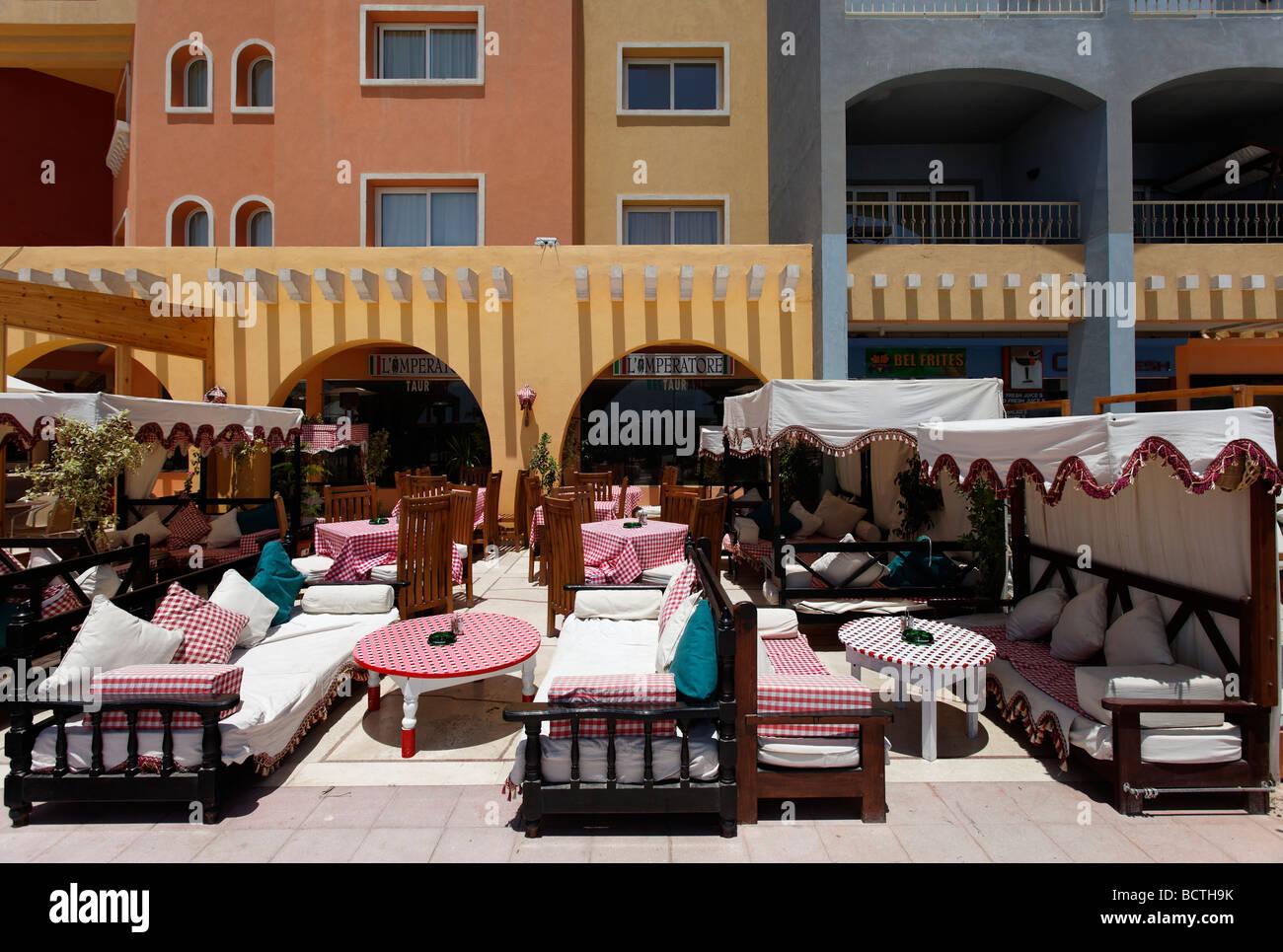 Open-air restaurant, Hurghada, Egypt, Red Sea, Africa Stock Photo
