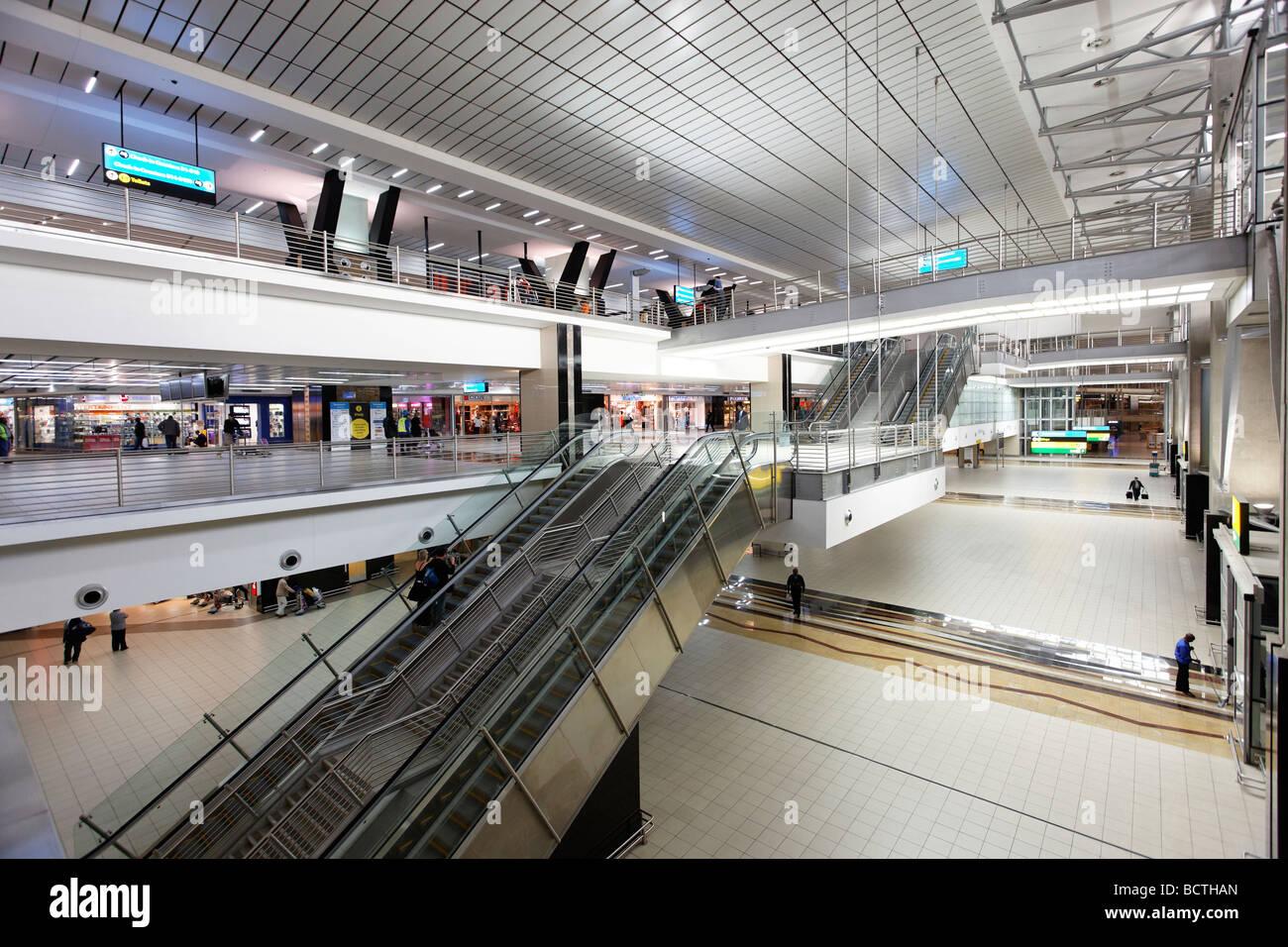 Escalator, departure, hall, O R Tambo International Airport, Johannesburg, South Africa, Africa - Stock Image
