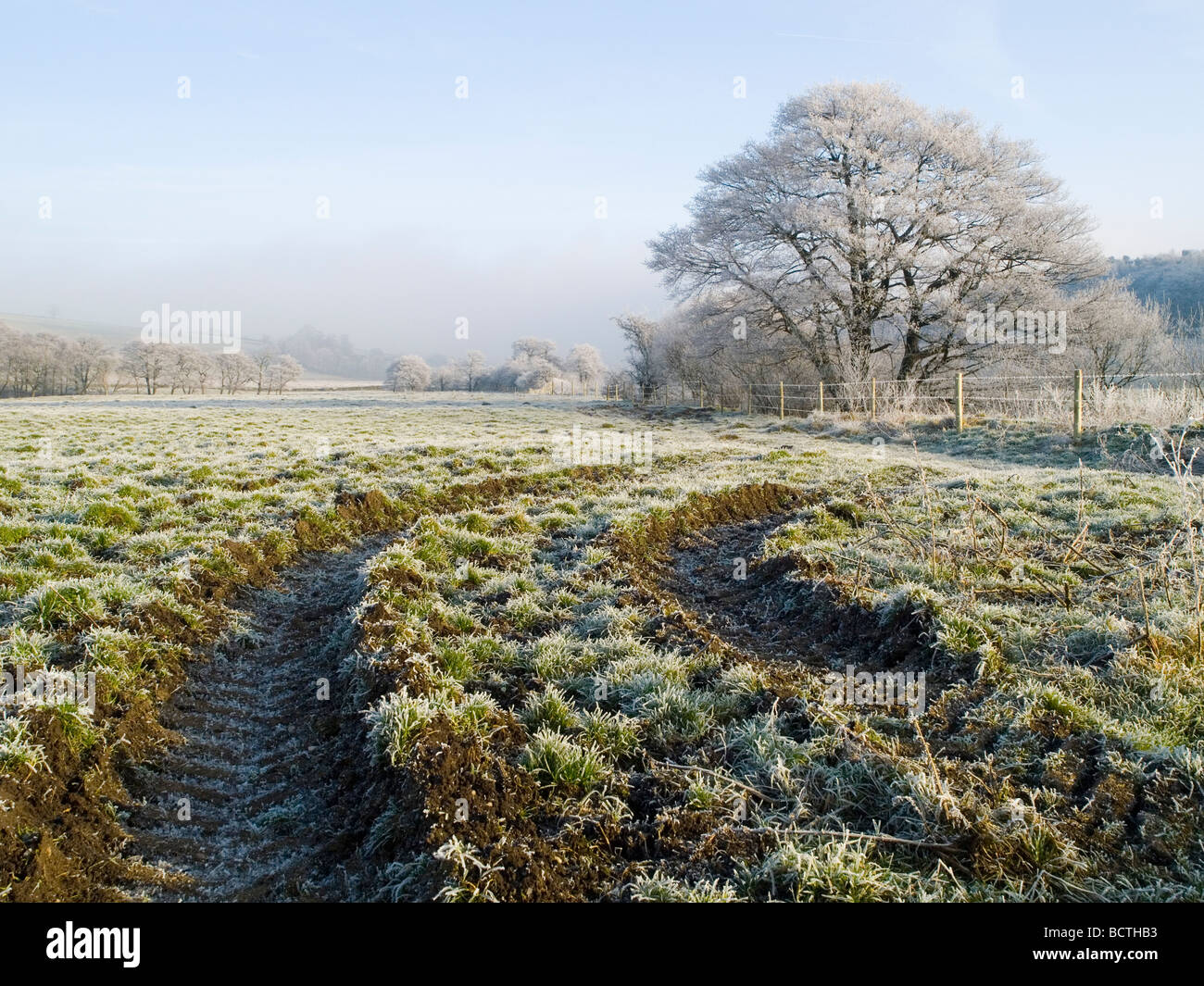 A beautiful white winter landscape, taken on a clear sunny day near Longnor in the Peak District Derbyshire England - Stock Image
