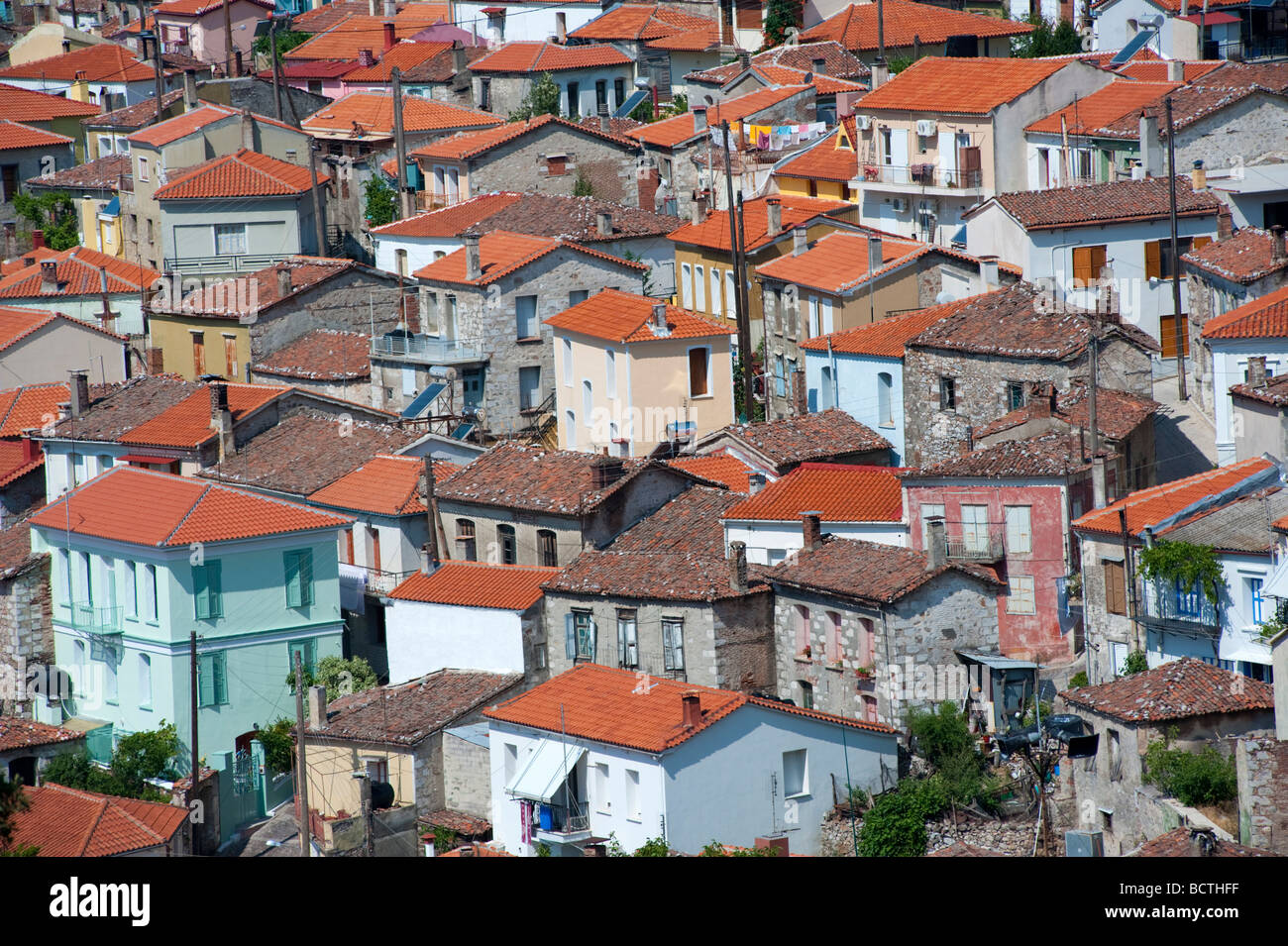 Hill town of Agiassos on Lesvos Island in Greece - Stock Image
