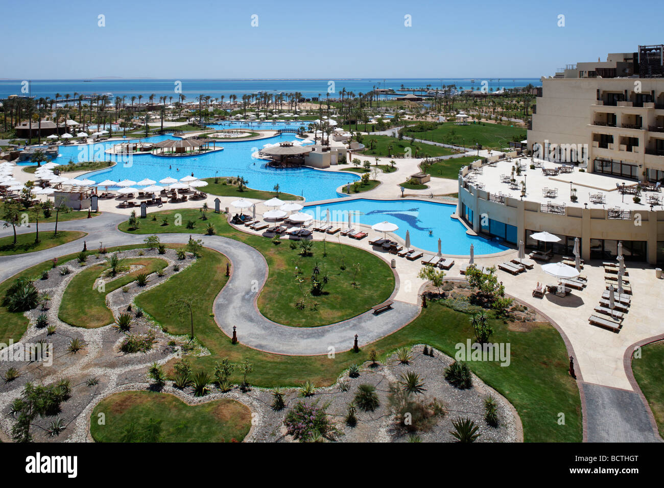 Garden, pool, roof terrace, Steigenberger Al Dau Beach Resort, Hurhada, Egypt, Red Sea, Africa - Stock Image