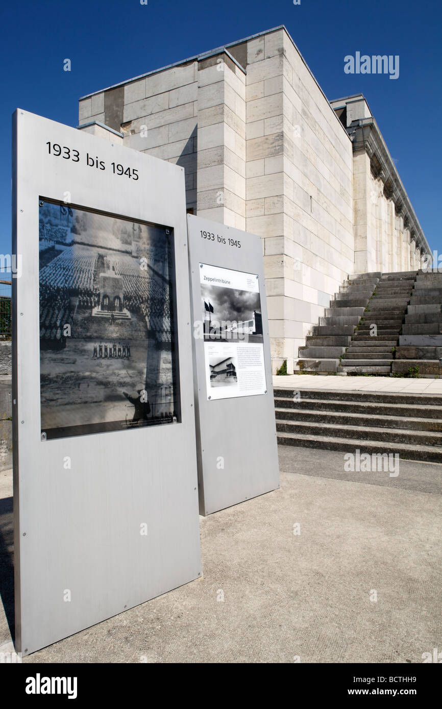 Information board for Adolf Hitler's tribune in front of the Zeppelinfeld field, Reichsparteitagsgelaende Nazi party Stock Photo