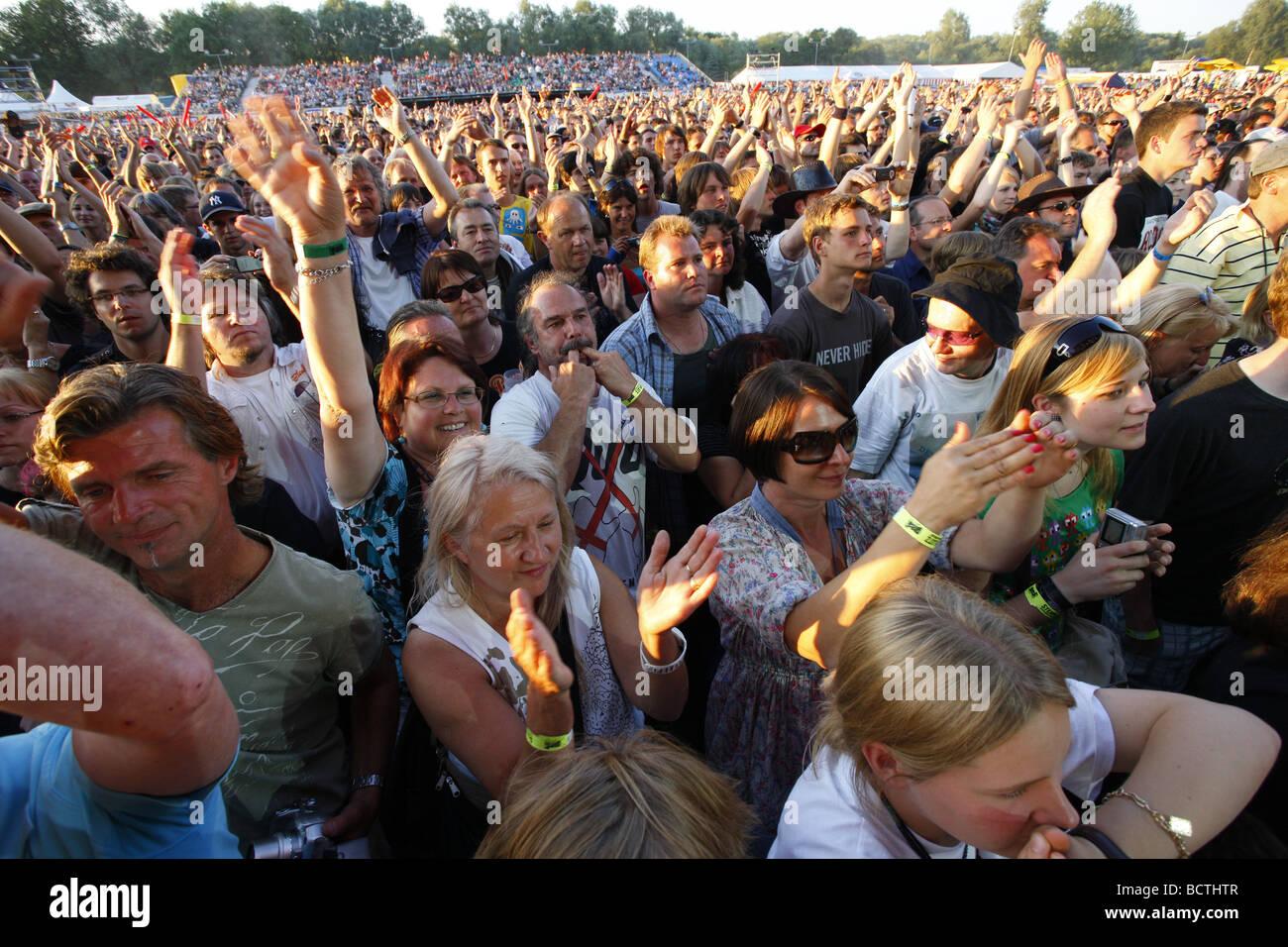 Spectators at the Open Air Festival, Muehldorf am Inn, Bavaria, Germany Stock Photo
