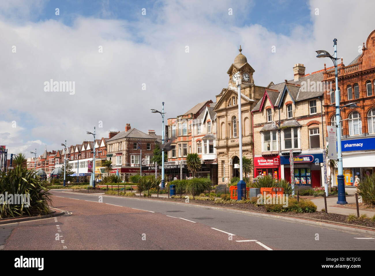 Wide main street in St Anne's Square in Lytham St Annes Lancashire England UK - Stock Image