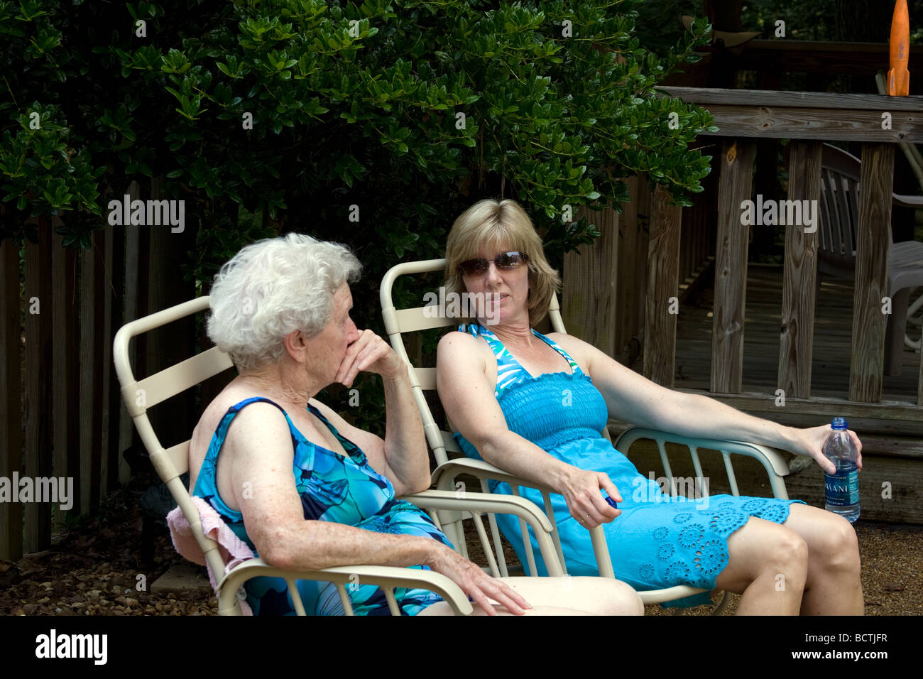 A mother and daughter talk about times past and the future to come. - Stock Image