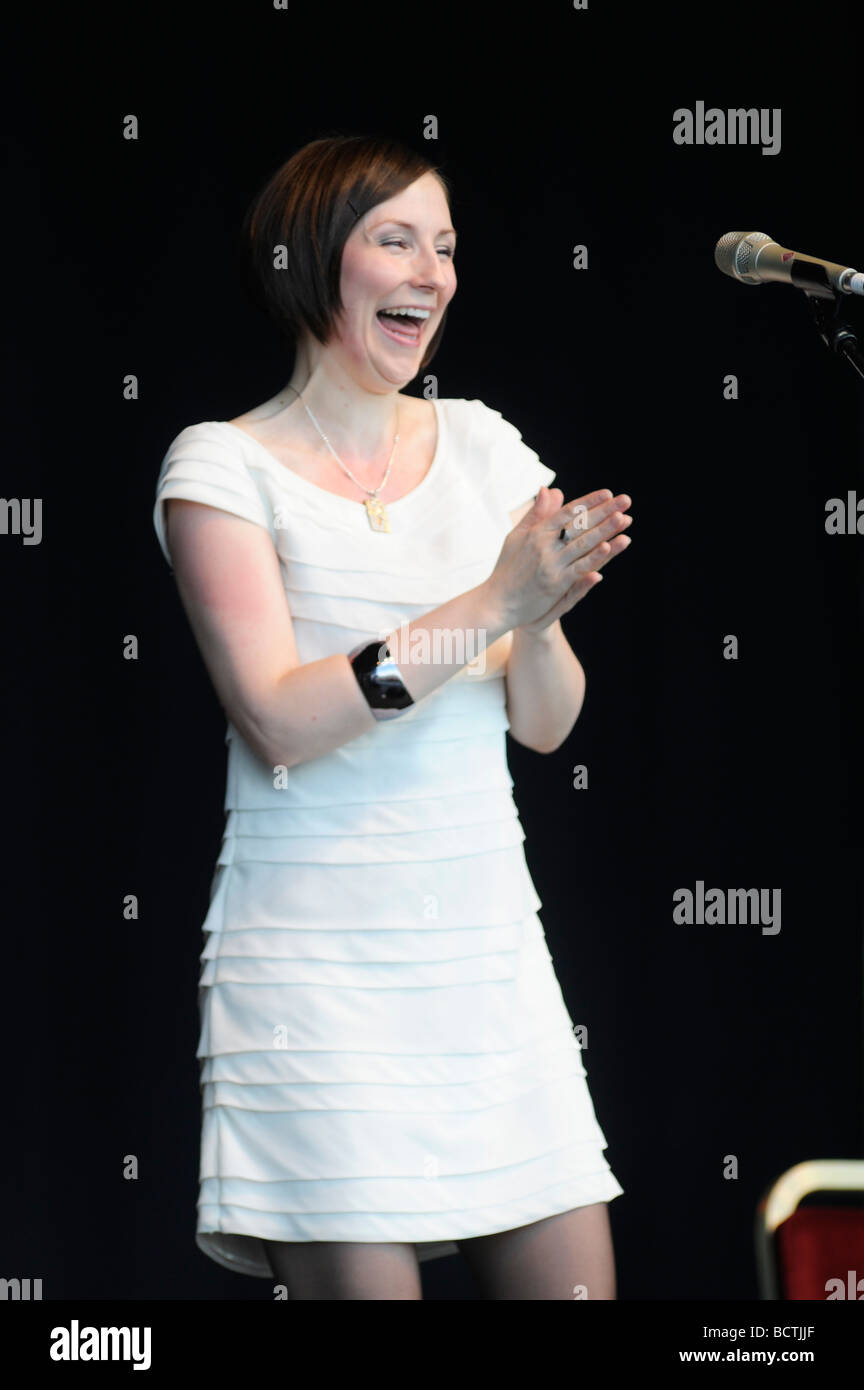 Scottish Folk Singer Julie Fowlis performs on stage at The Gathering 2009 in Holyrood Park Edinburgh, for Homecoming - Stock Image