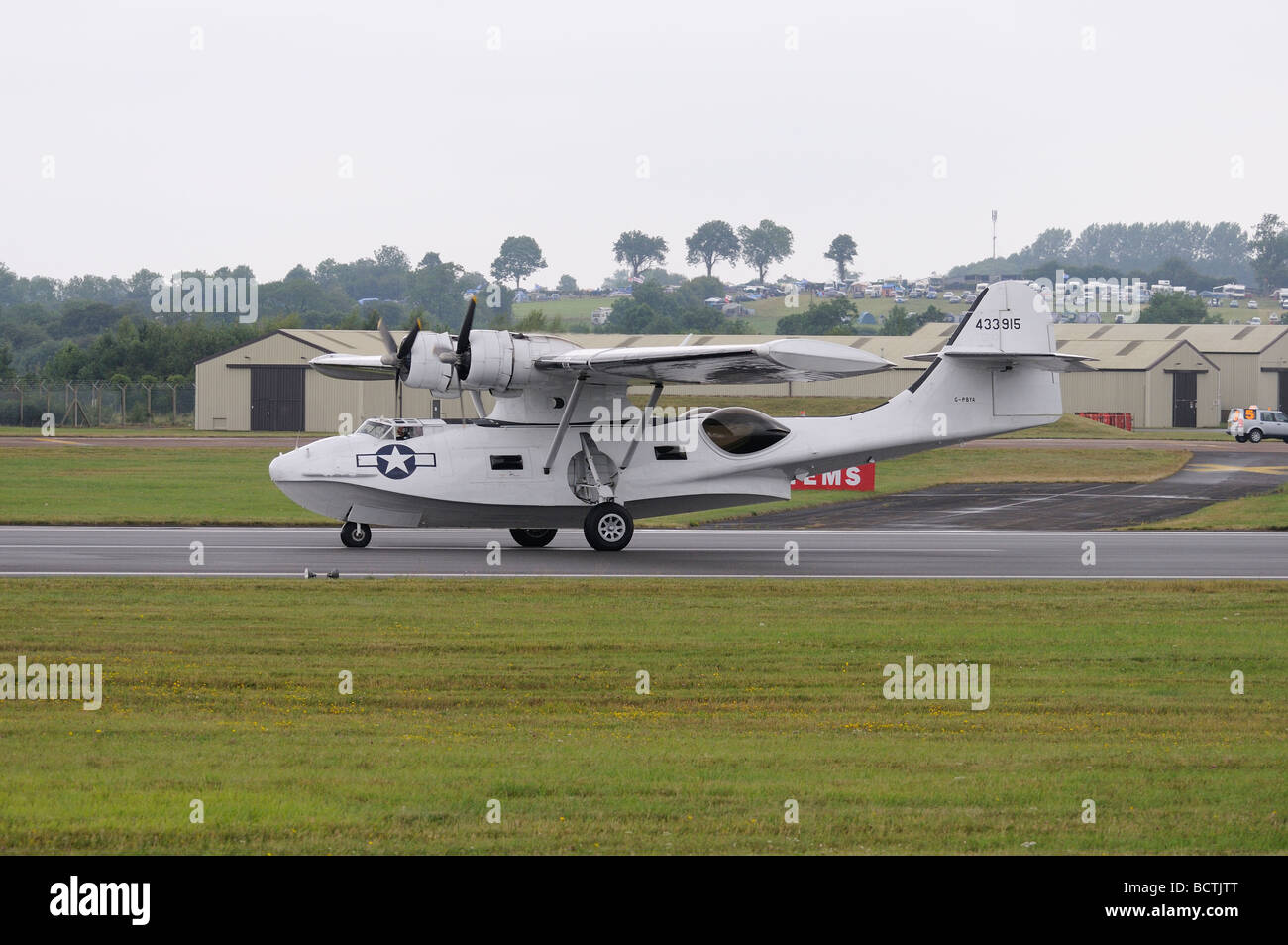 Canadian Vickers PBY affectionally known as a Catalina arrives at RAF Fairford Gloucestershire England for the RIAT - Stock Image
