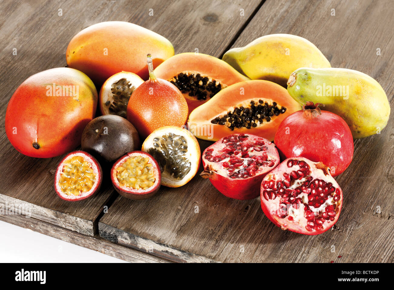 exotic fruits mango passionfruit grenadilla papaya pomegranate stock photo 25128370 alamy. Black Bedroom Furniture Sets. Home Design Ideas