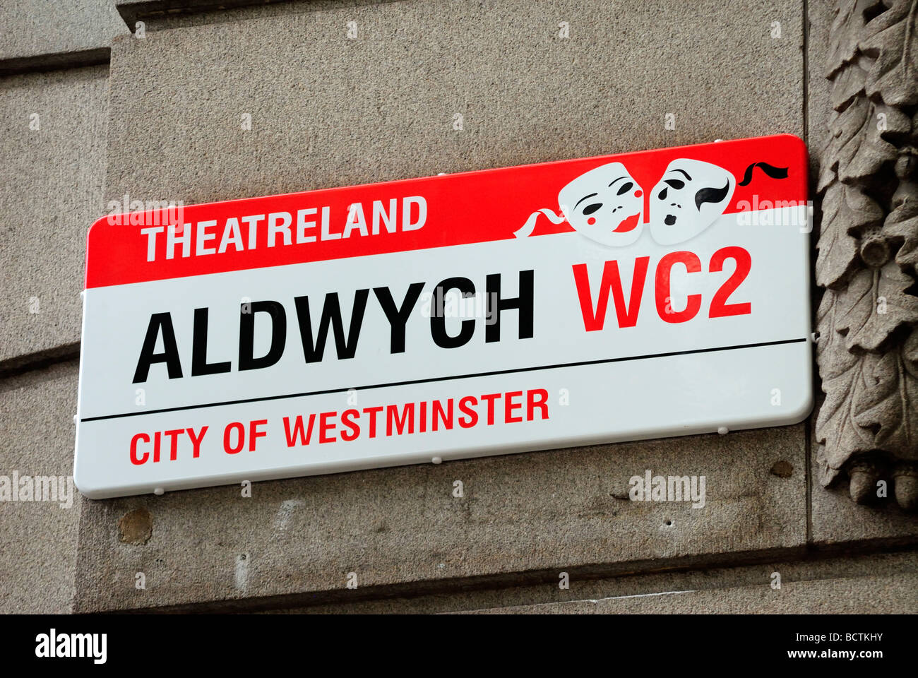Aldwych Street Sign London England Britain July 09 - Stock Image