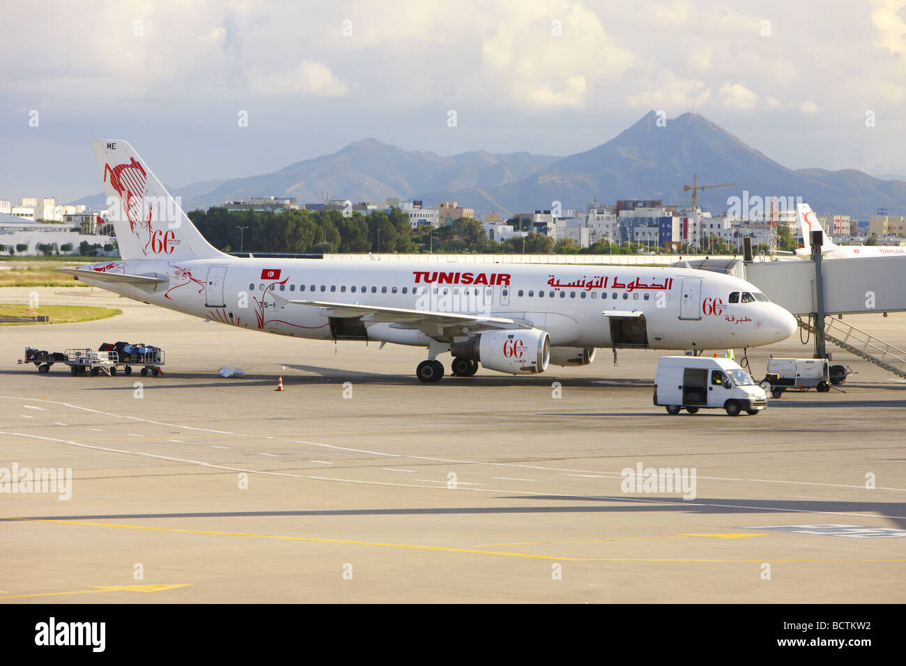 Plane At The Airport, Tunis, Tunisia, Northern Africa   Stock Image