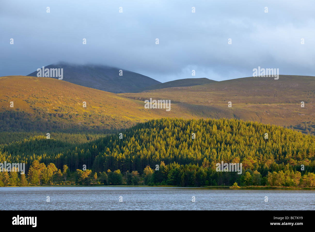 The cairngorms from across Loch Morlich at sunset - Stock Image